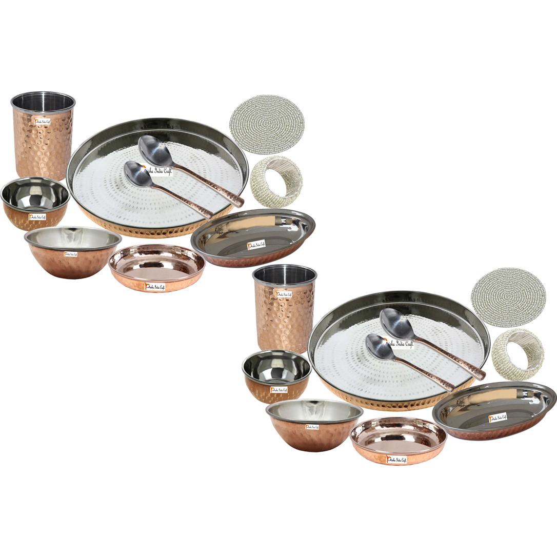 Set of 2 Prisha India Craft B. Best Dinnerware Steel Copper Thali Set Dia 13  Indian Traditional Dinner Set of Plate, Bowl, Spoons, Glass with Napkin ring and Coaster - Christmas Gift