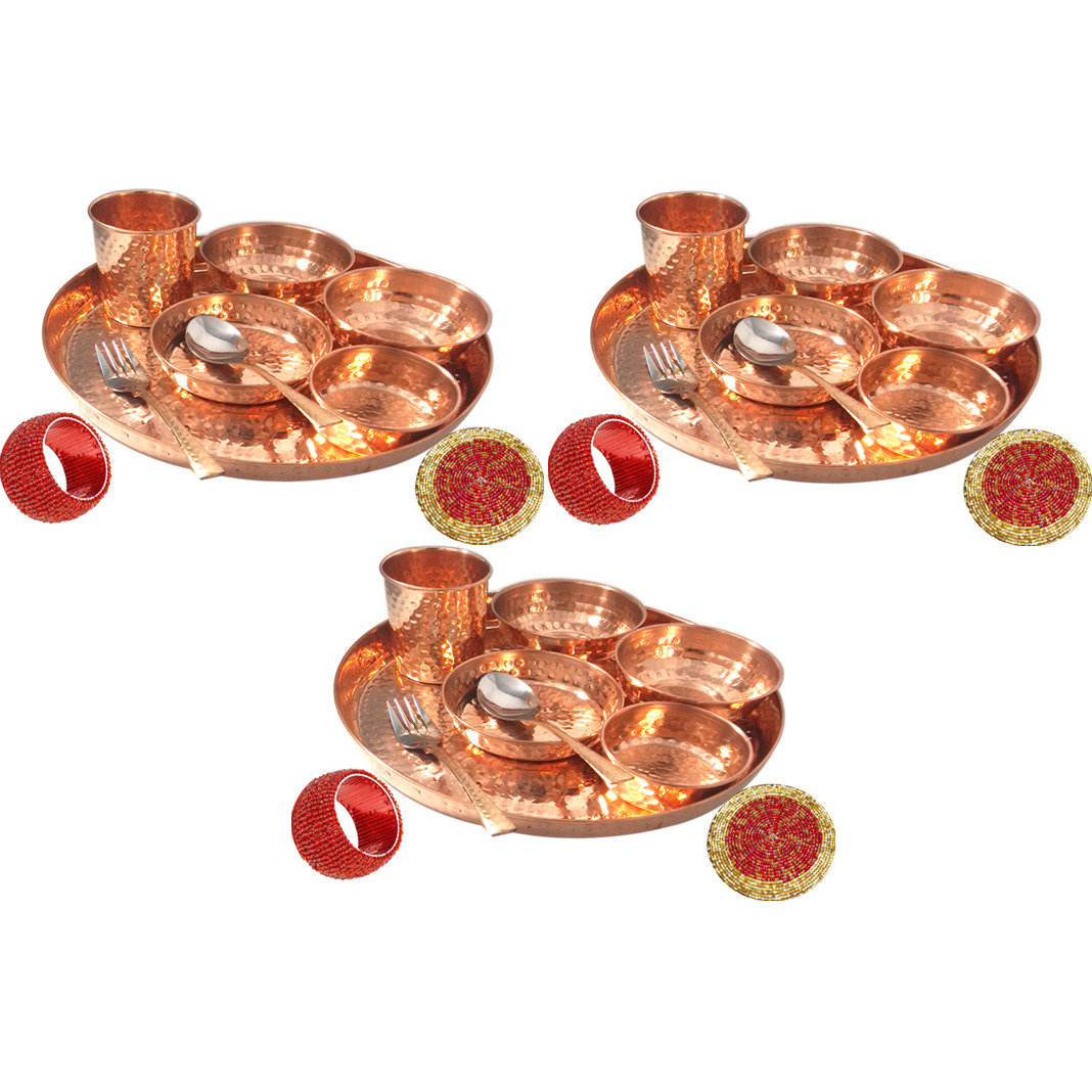 Set of 3 Prisha India Craft B. Best Dinnerware Pure Copper Thali Set Dia 12  Indian Traditional Dinner Set of Plate, Bowl, Spoons, Glass with Napkin ring and Coaster - Christmas Gift