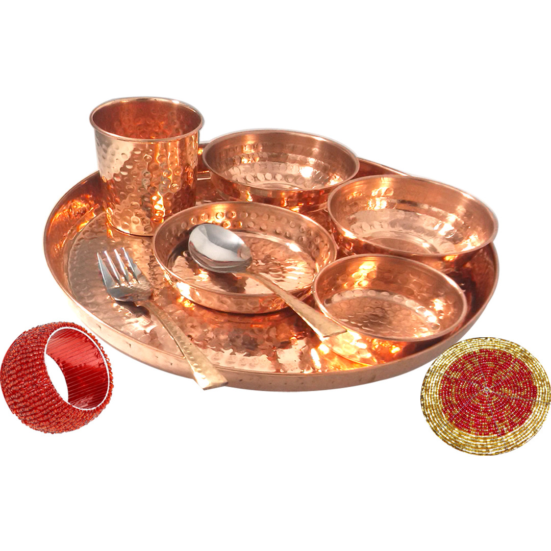 Set of 5 Prisha India Craft B. Best Dinnerware Pure Copper Thali Set Dia 12  Indian Traditional Dinner Set of Plate, Bowl, Spoons, Glass with Napkin ring and Coaster - Christmas Gift