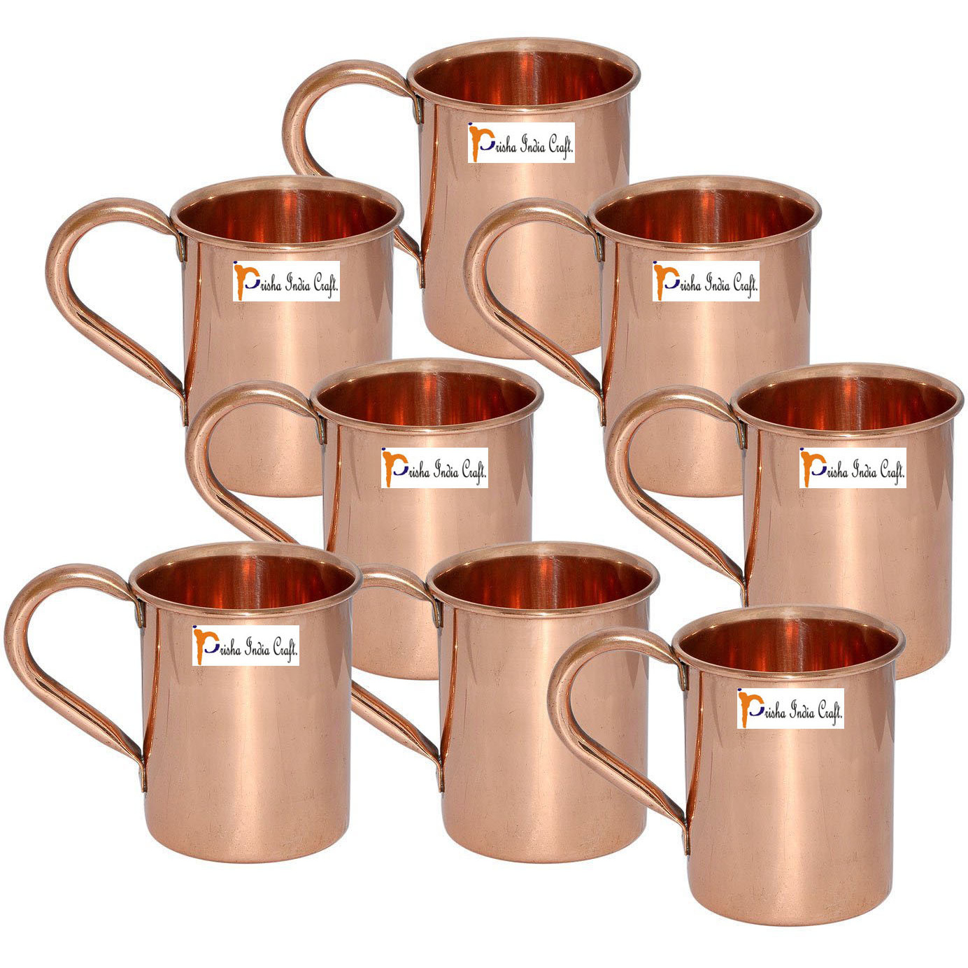 Set of 8 - Prisha India Craft B. Copper Mug for Moscow Mules 450 ML / 15 oz - 100% pure copper - Lacquered Finish Mule Cup, Moscow Mule Cocktail Cup, Copper Mugs, Cocktail Mugs with No Inner Linings