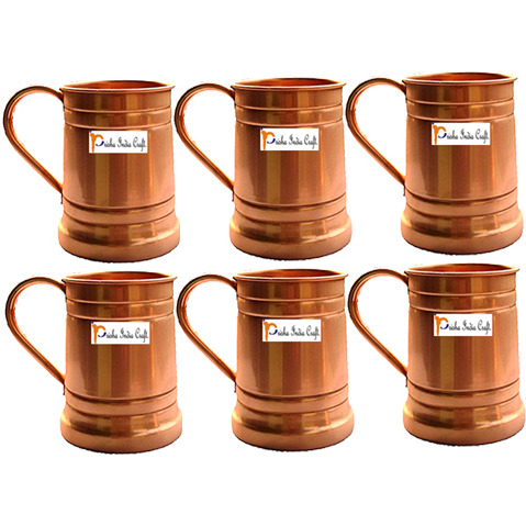 Set of 6 Prisha India Craft B. Moscow Mules Copper Mug 600 ML / 20 oz - Mule Cup, Moscow Mule Cocktail Cup, Copper Mugs, Cocktail Mugs - Christmas Gift with WOODEN KEYRING