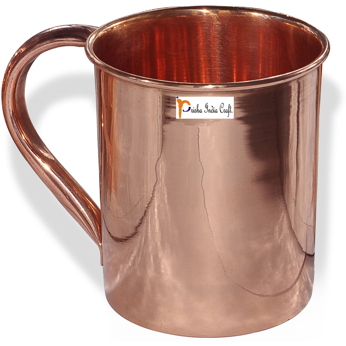 Set of 4 - Prisha India Craft B.Copper Mug for Moscow Mules 450 ML / 15 oz - 100% pure copper - Lacquered Finish Mule Cup, Moscow Mule Cocktail Cup, Copper Mugs, Cocktail Mugs with No Inner Linings