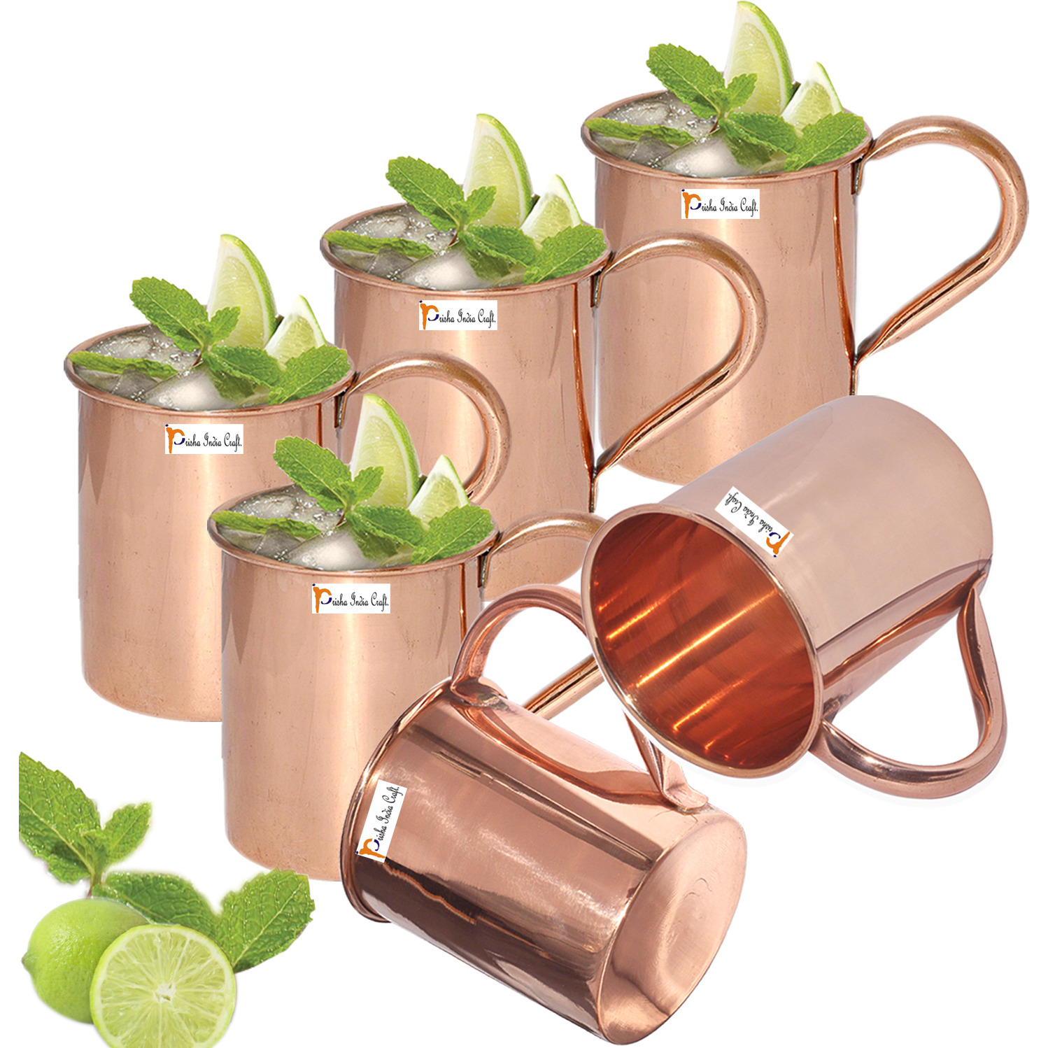 Set of 6 - Prisha India Craft B. Copper Mug for Moscow Mules 450 ML / 15 oz - 100% pure copper - Lacquered Finish Mule Cup, Moscow Mule Cocktail Cup, Copper Mugs, Cocktail Mugs with No Inner Linings