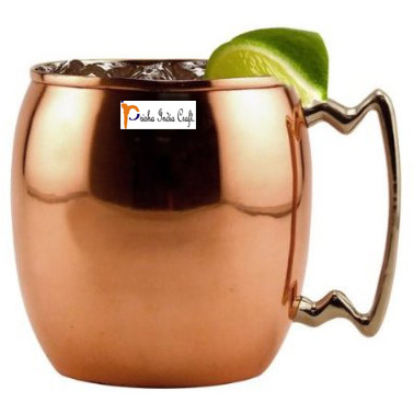 Set of 6 - Prisha India Craft B. Copper Mug for Moscow Mules 550 ML / 18 oz Inside Nickle Plain Best Quality Lacquered Finish Mule Cup, Moscow Mule Cocktail Cup, Copper Mugs, Cocktail Mugs