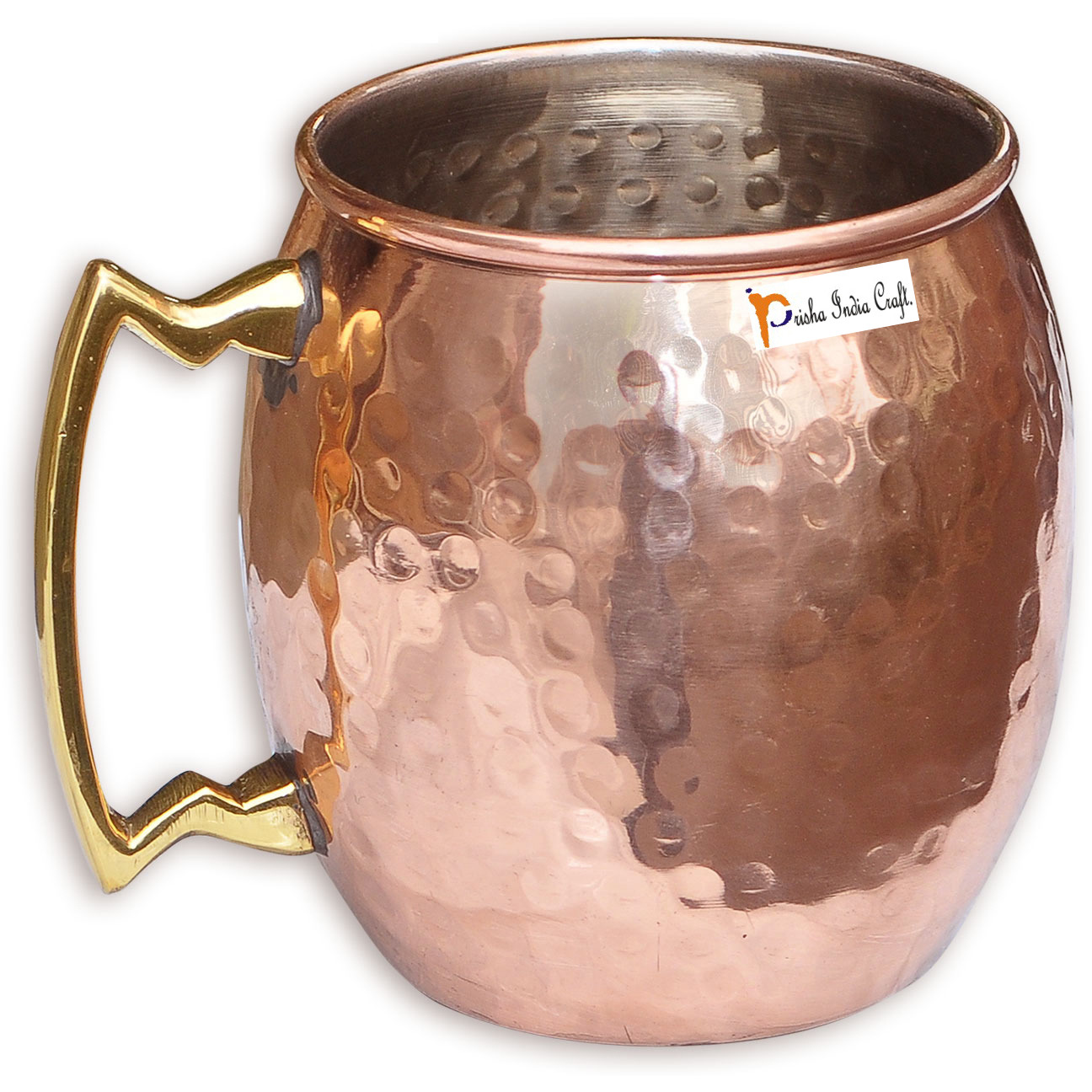 Set of 8 - Prisha India Craft B. Copper Mug for Moscow Mules 560 ML / 18 oz Inside Nickle Hammered Best Quality Lacquered Finish Mule Cup, Moscow Mule Cocktail Cup, Copper Mugs, Cocktail Mugs