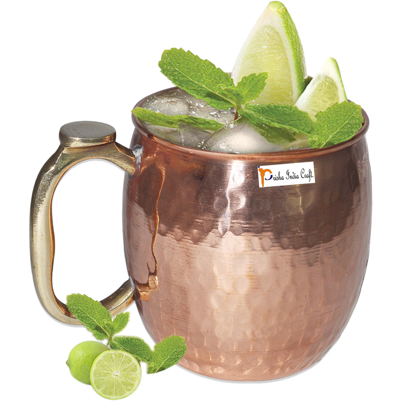 Set of 8 - Prisha India Craft B. Copper Mug for Moscow Mules 550 ML / 18 oz Pure Copper Mug Mule Cup, Moscow Mule Cocktail Cup, Copper Mugs, Cocktail Mugs