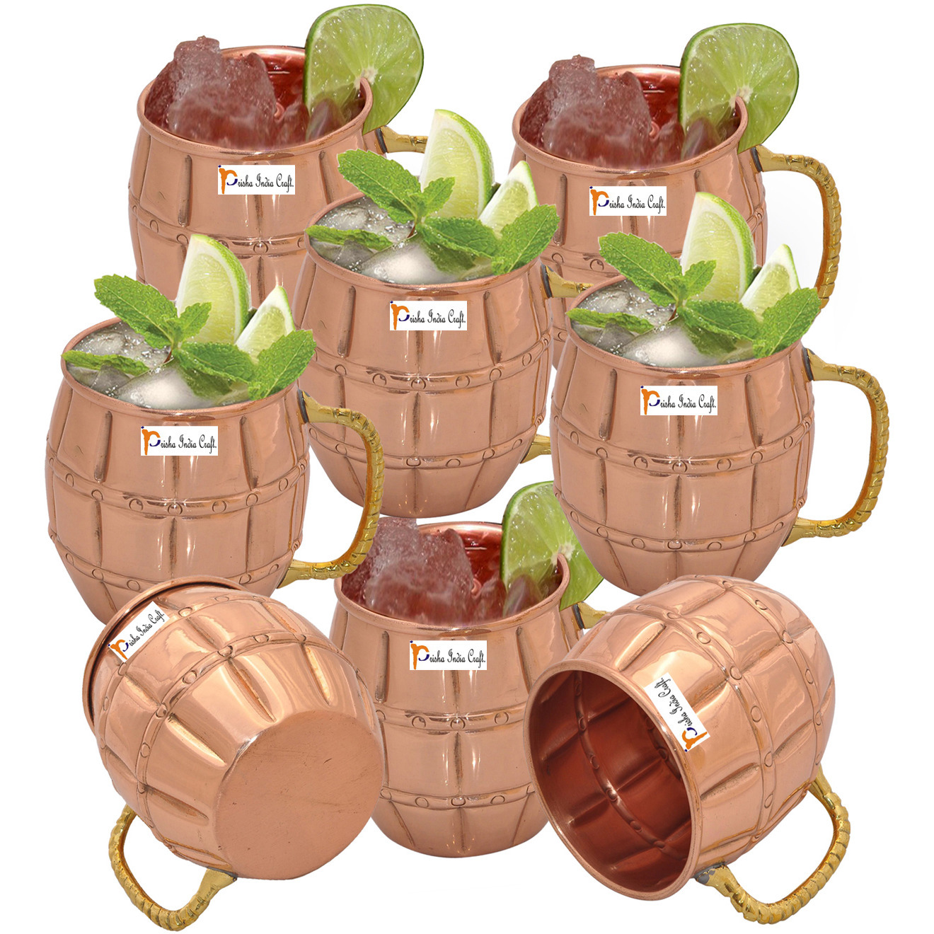 Set of 8 - Prisha India Craft B. Solid Copper Moscow Mule Mug 550 ML / 18 oz 100% Copper Lacquered Finish Best Quality Mule Cup, Moscow Mule Cocktail Cup, Copper Mugs, Cocktail Mugs