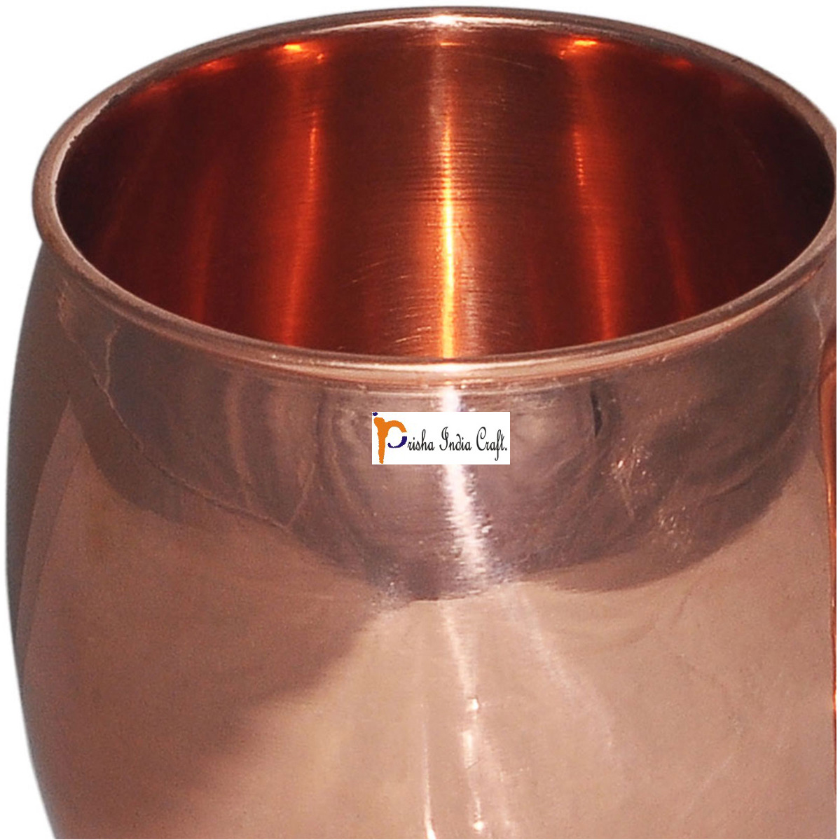Set of 4 - Prisha India Craft B. Copper Barrel Mug Classic for Moscow Mule 520 ML / 17 oz Pure Copper Mug, Copper Mule Cup, Moscow Mule Cocktail Cup, Copper Mugs, Cocktail Mugs - with No Inner Linings