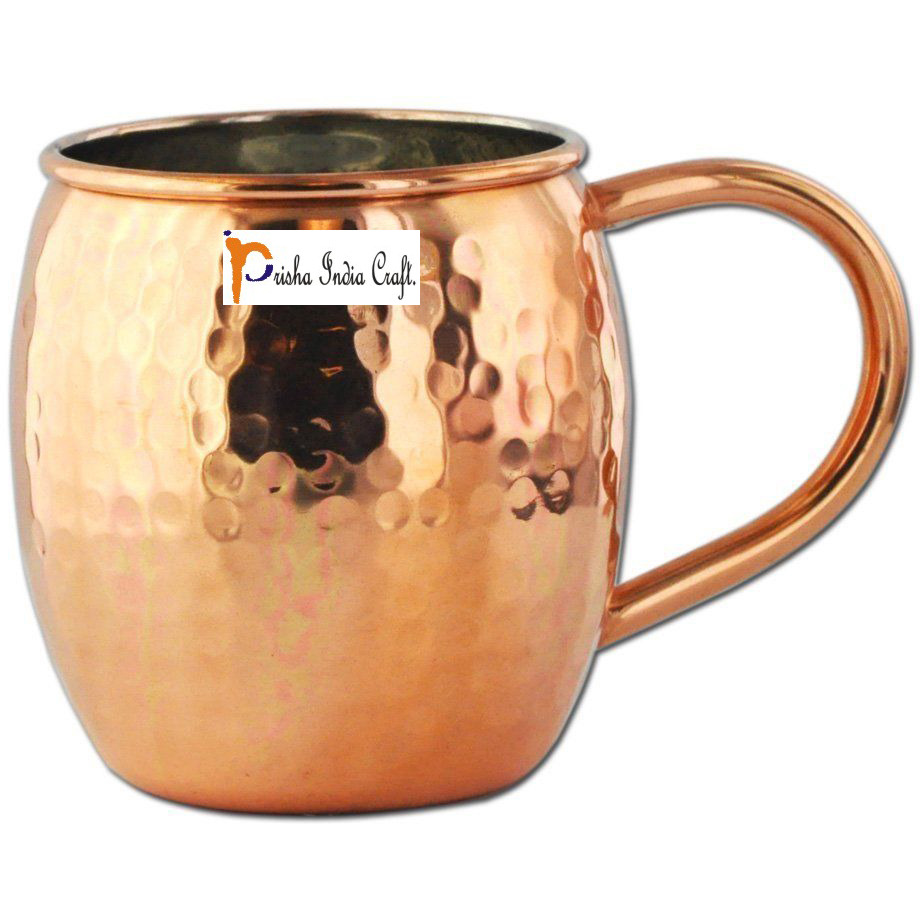 Set of 8 - Prisha India Craft B. Copper Barrel Mug Hammered for Moscow Mules 520 ML / 17 oz Inside Nickel Outside Copper Mule Cup, Moscow Mule Cocktail Cup, Cocktail Mugs with INNER LININGS COPPER MUG