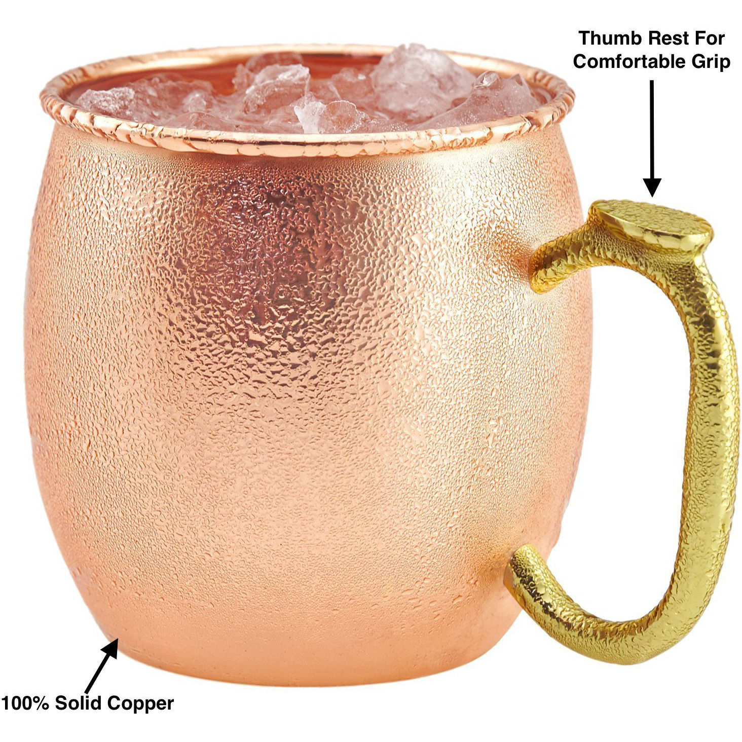 Set of 4 - Prisha India Craft B. Pure Copper Moscow Mules Copper Mug with Thumb Handle 475 ML / 16 oz - Cocktail Cup - Christmas Gift Bonus with WOODEN KEYRING, Copper Straw, Beaded Coaster