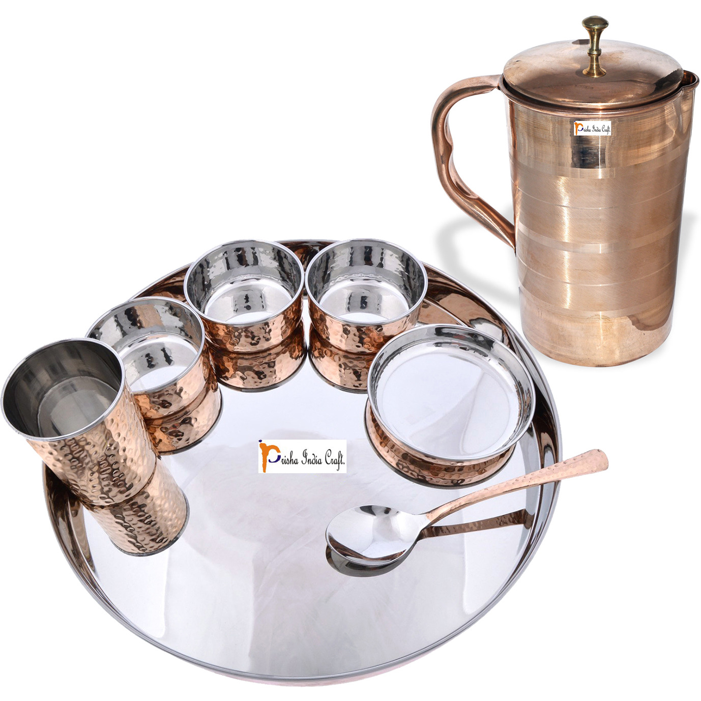 Prisha India Craft B. Dinnerware Traditional Stainless Steel Copper Dinner Set of Thali Plate, Bowls, Glass and Spoon, Dia 13  With 1 Luxury Style Pure Copper Pitcher Jug - Christmas Gift