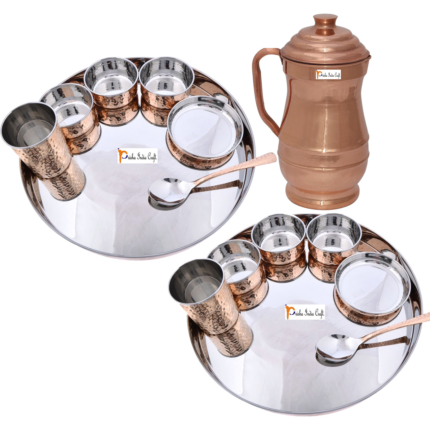 Prisha India Craft B. Set of 2 Dinnerware Traditional Stainless Steel Copper Dinner Set of Thali Plate, Bowls, Glass and Spoon, Dia 13  With 1 Pure Copper Maharaja Pitcher Jug - Christmas Gift