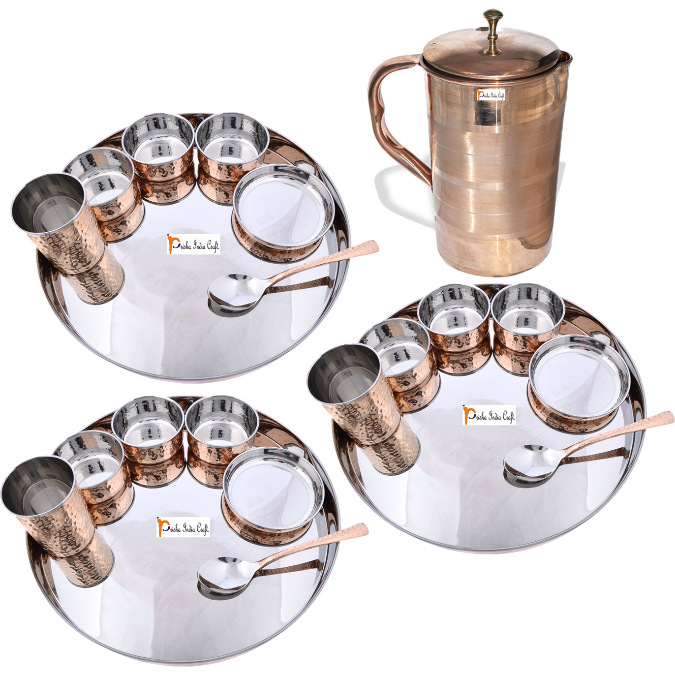 Prisha India Craft B. Set of 3 Dinnerware Traditional Stainless Steel Copper Dinner Set of Thali Plate, Bowls, Glass and Spoon, Dia 13  With 1 Luxury Style Pure Copper Pitcher Jug - Christmas Gift