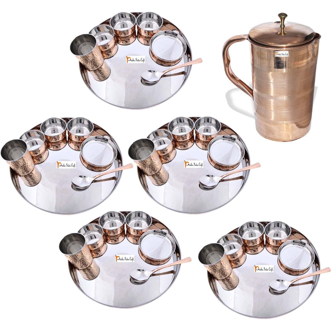 Prisha India Craft B. Set of 5 Dinnerware Traditional Stainless Steel Copper Dinner Set of Thali Plate, Bowls, Glass and Spoon, Dia 13  With 1 Luxury Style Pure Copper Pitcher Jug - Christmas Gift