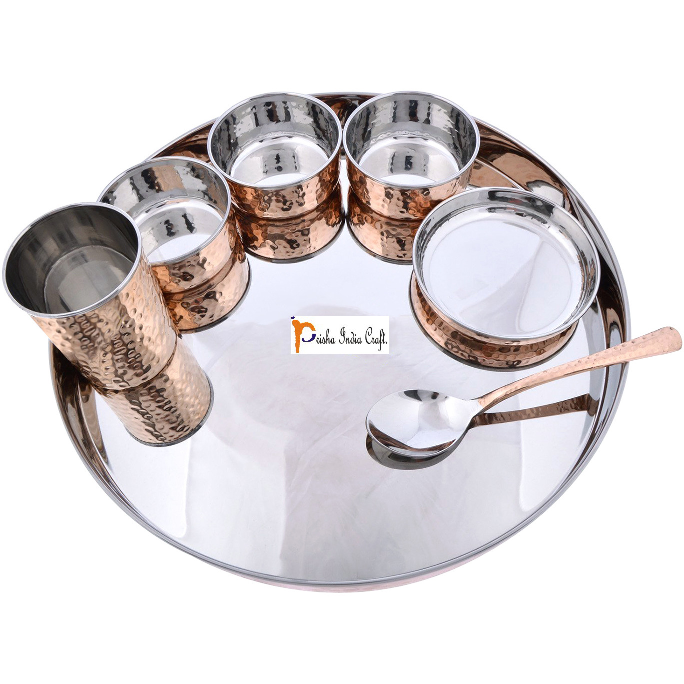 Prisha India Craft B. Set of 5 Dinnerware Traditional Stainless Steel Copper Dinner Set of Thali Plate, Bowls, Glass and Spoon, Dia 13  With 1 Stainless Steel Copper Hammered Pitcher Jug - Christmas Gift
