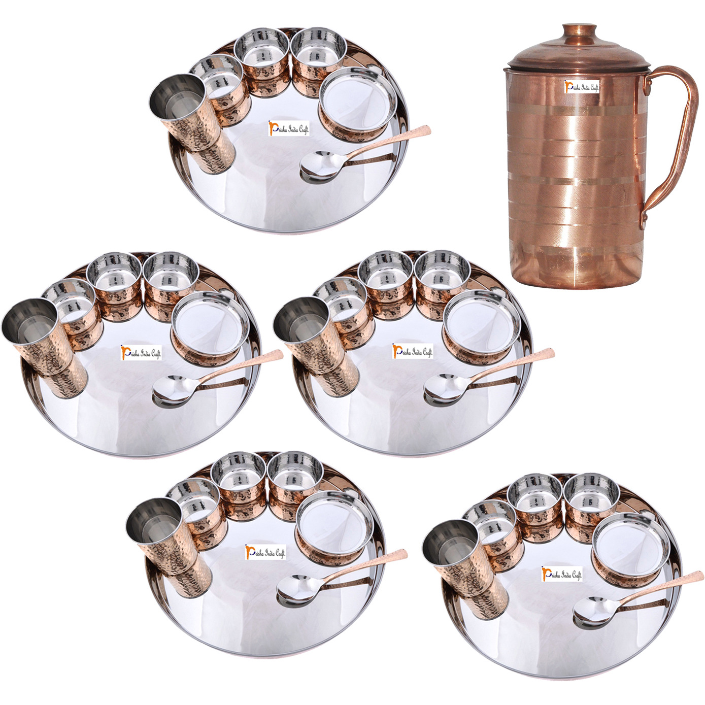 Prisha India Craft B. Set of 5 Dinnerware Traditional Stainless Steel Copper Dinner Set of Thali Plate, Bowls, Glass and Spoon, Dia 13  With 1 Pure Copper Pitcher Jug - Christmas Gift