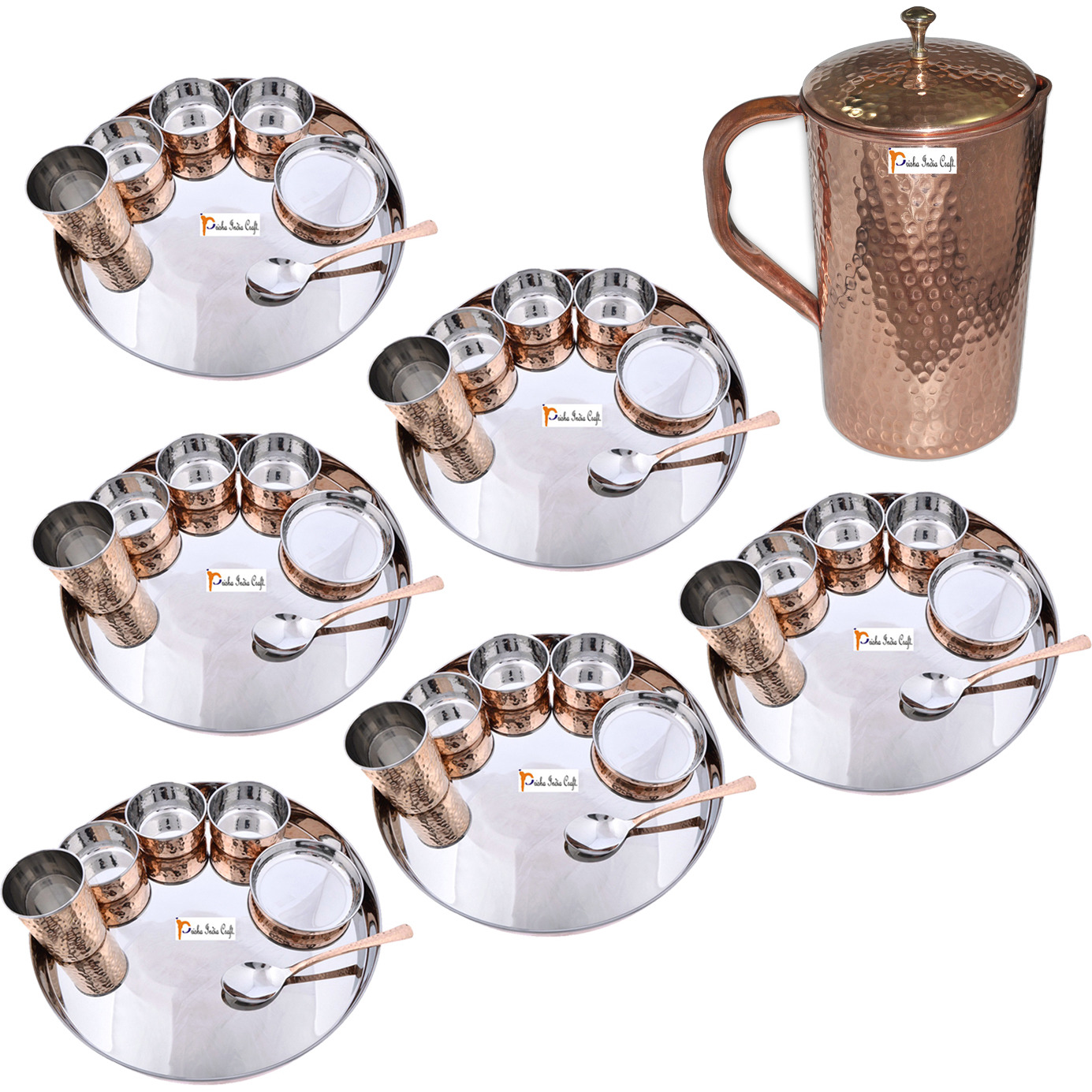 Prisha India Craft B. Set of 6 Dinnerware Traditional Stainless Steel Copper Dinner Set of Thali Plate, Bowls, Glass and Spoon, Dia 13  With 1 Pure Copper Hammered Pitcher Jug - Christmas Gift