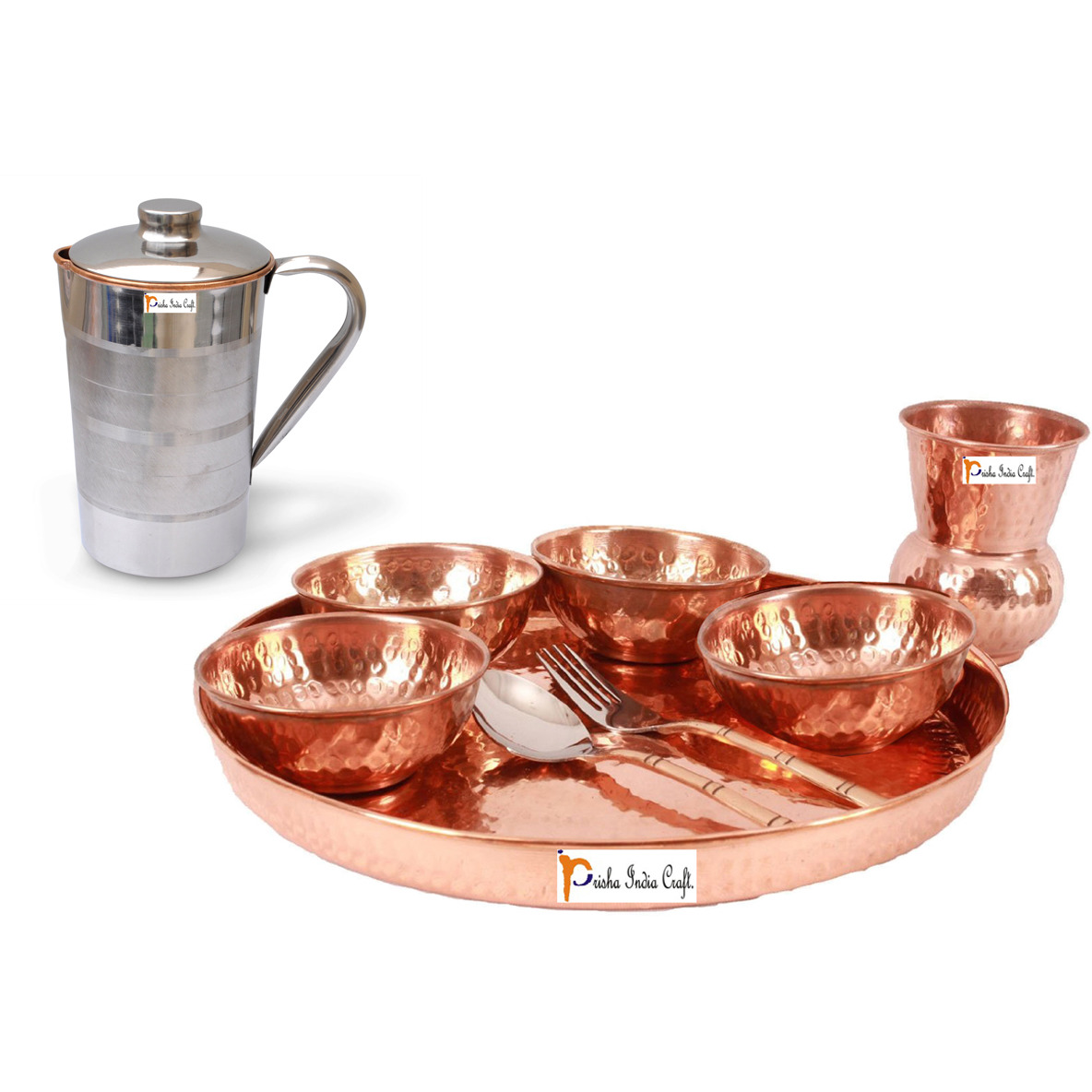 Prisha India Craft B. Dinnerware Traditional 100% Pure Copper Dinner Set of Thali Plate, Bowls, Glass and Spoon, Dia 12  With 1 Pure Copper Pitcher Jug - Christmas Gift