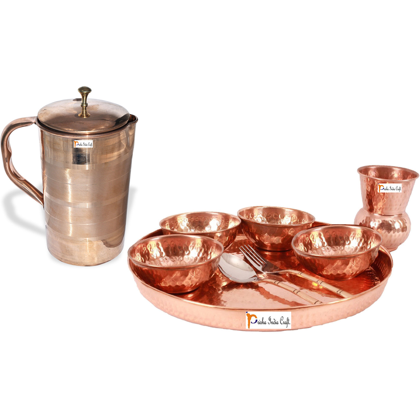 Prisha India Craft B. Dinnerware Traditional 100% Pure Copper Dinner Set of Thali Plate, Bowls, Glass and Spoon, Dia 12  With 1 Luxury Style Pure Copper Pitcher Jug - Christmas Gift