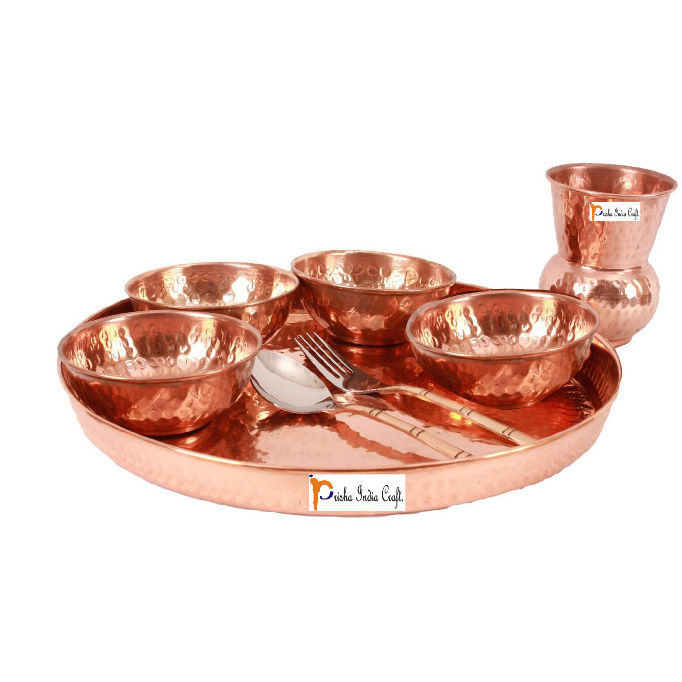 Prisha India Craft B. Set of 2 Dinnerware Traditional 100% Pure Copper Dinner Set of Thali Plate, Bowls, Glass and Spoon, Dia 12  With 1 Stainless Steel Copper Hammered Pitcher Jug - Christmas Gift