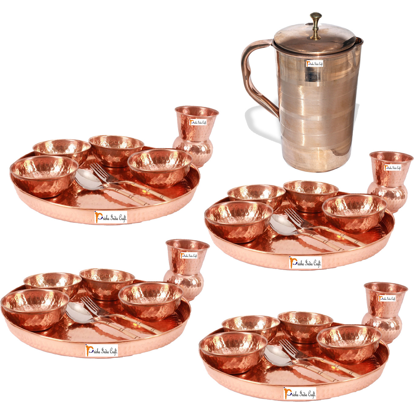 Prisha India Craft B. Set of 4 Dinnerware Traditional 100% Pure Copper Dinner Set of Thali Plate, Bowls, Glass and Spoon, Dia 12  With 1 Luxury Style Pure Copper Pitcher Jug - Christmas Gift