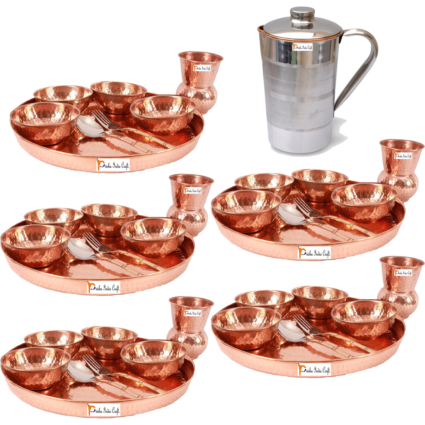 Prisha India Craft B. Set of 5 Dinnerware Traditional 100% Pure Copper Dinner Set of Thali Plate, Bowls, Glass and Spoon, Dia 12  With 1 Pure Copper Pitcher Jug - Christmas Gift