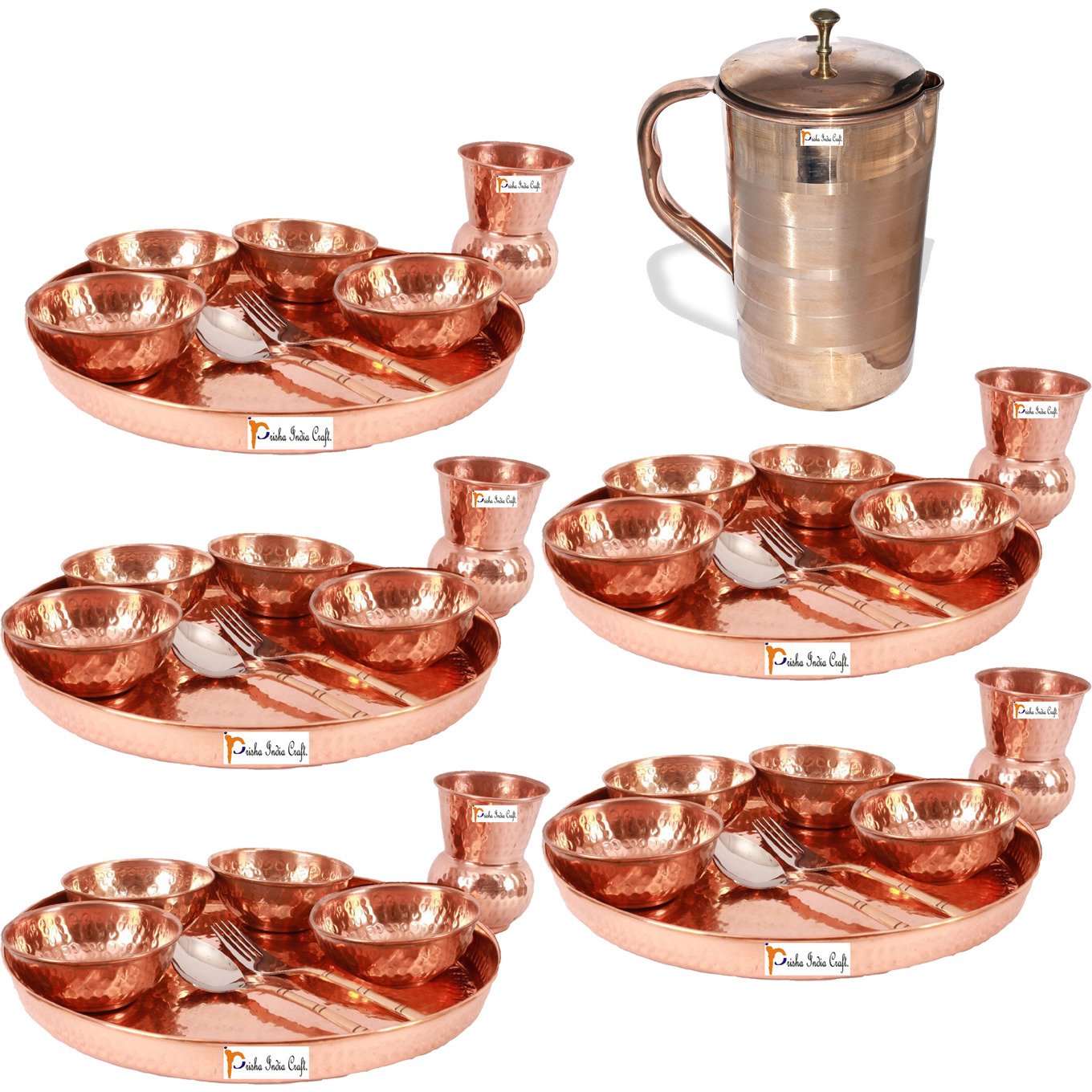 Prisha India Craft B. Set of 5 Dinnerware Traditional 100% Pure Copper Dinner Set of Thali Plate, Bowls, Glass and Spoon, Dia 12  With 1 Luxury Style Pure Copper Pitcher Jug - Christmas Gift