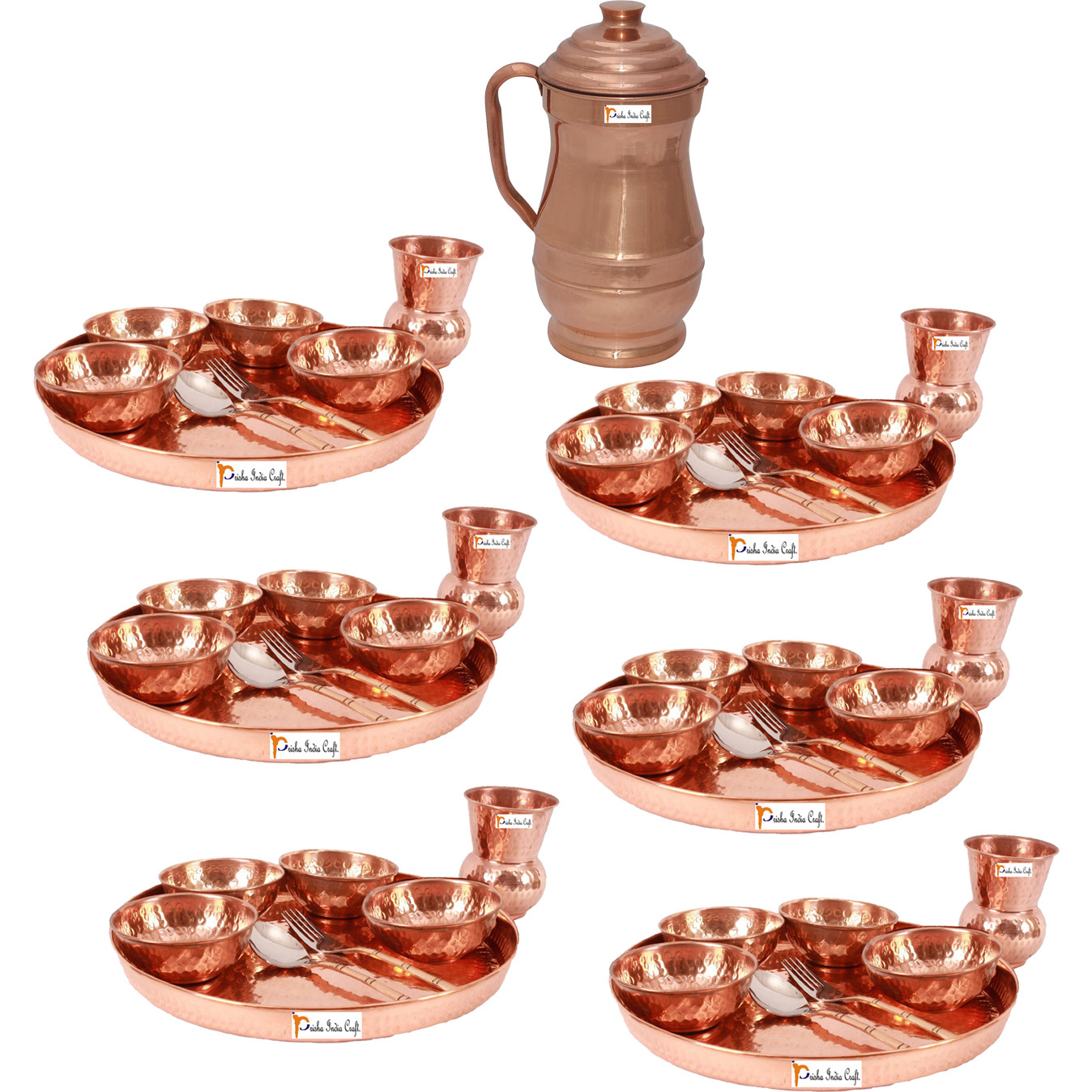 Prisha India Craft B. Set of 6 Dinnerware Traditional 100% Pure Copper Dinner Set of Thali Plate, Bowls, Glass and Spoon, Dia 12  With 1 Pure Copper Maharaja Pitcher Jug - Christmas Gift