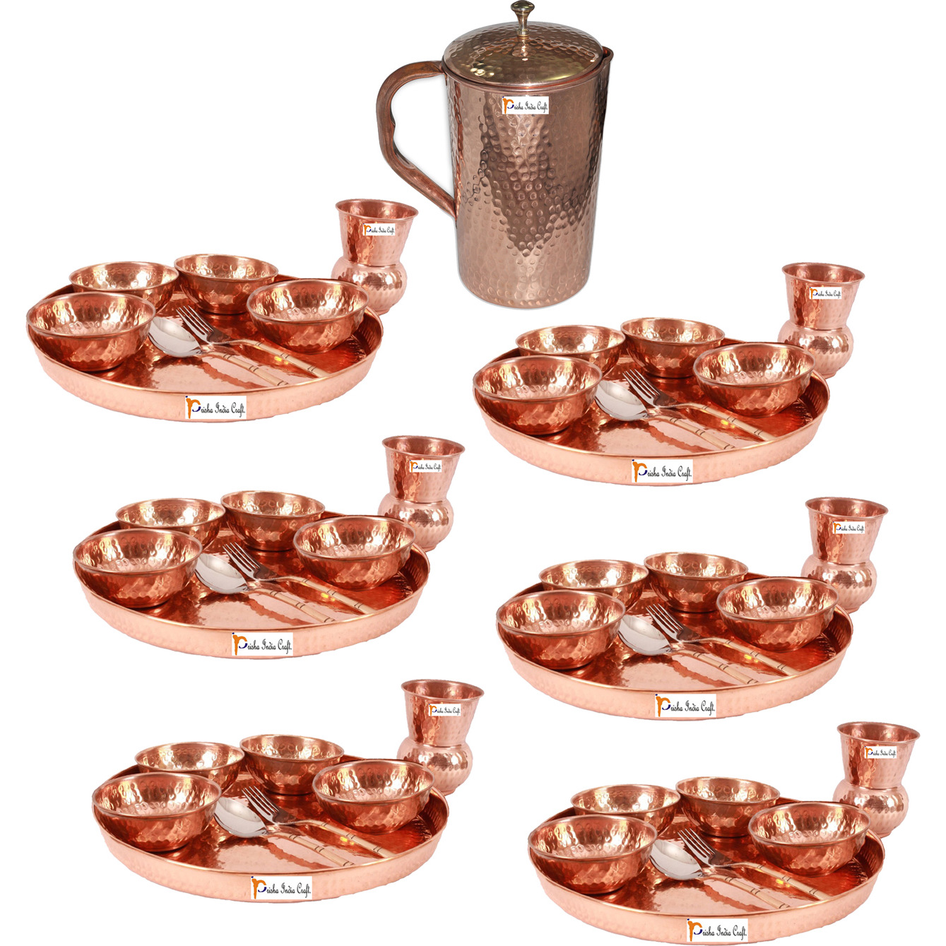 Prisha India Craft B. Set of 6 Dinnerware Traditional 100% Pure Copper Dinner Set of Thali Plate, Bowls, Glass and Spoon, Dia 12  With 1 Pure Copper Hammered Pitcher Jug - Christmas Gift