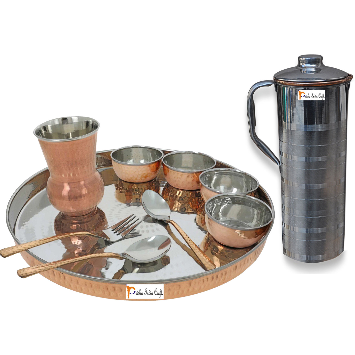 Prisha India Craft B. Dinnerware Traditional Stainless Steel Copper Dinner Set of Thali Plate, Bowls, Glass and Spoons, Dia 13  With 1 Luxury Style Stainless Steel Copper Pitcher Jug - Christmas Gift
