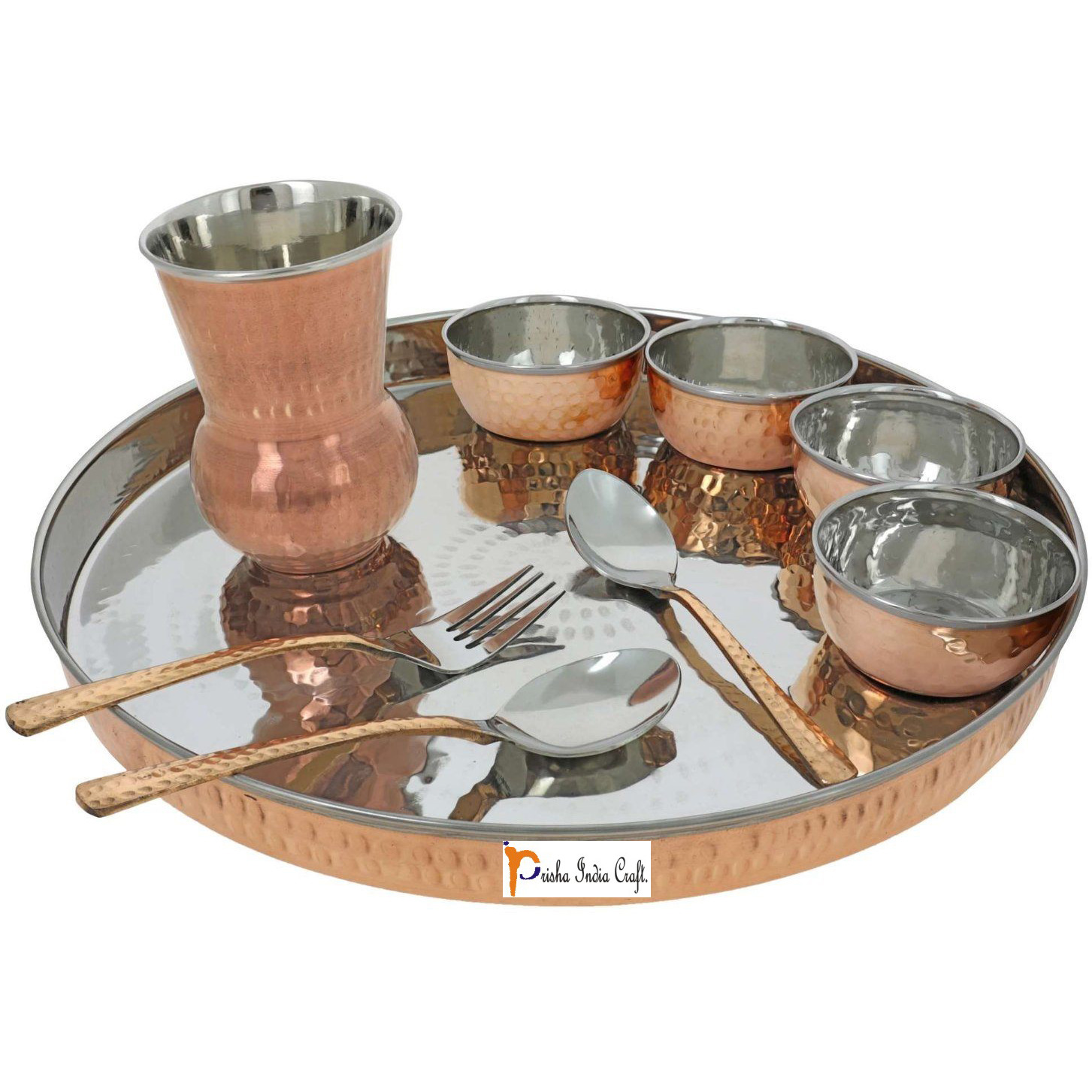 Prisha India Craft B. Set of 2 Dinnerware Traditional Stainless Steel Copper Dinner Set of Thali Plate, Bowls, Glass and Spoons, Dia 13  With 1 Pure Copper Hammered Pitcher Jug - Christmas Gift