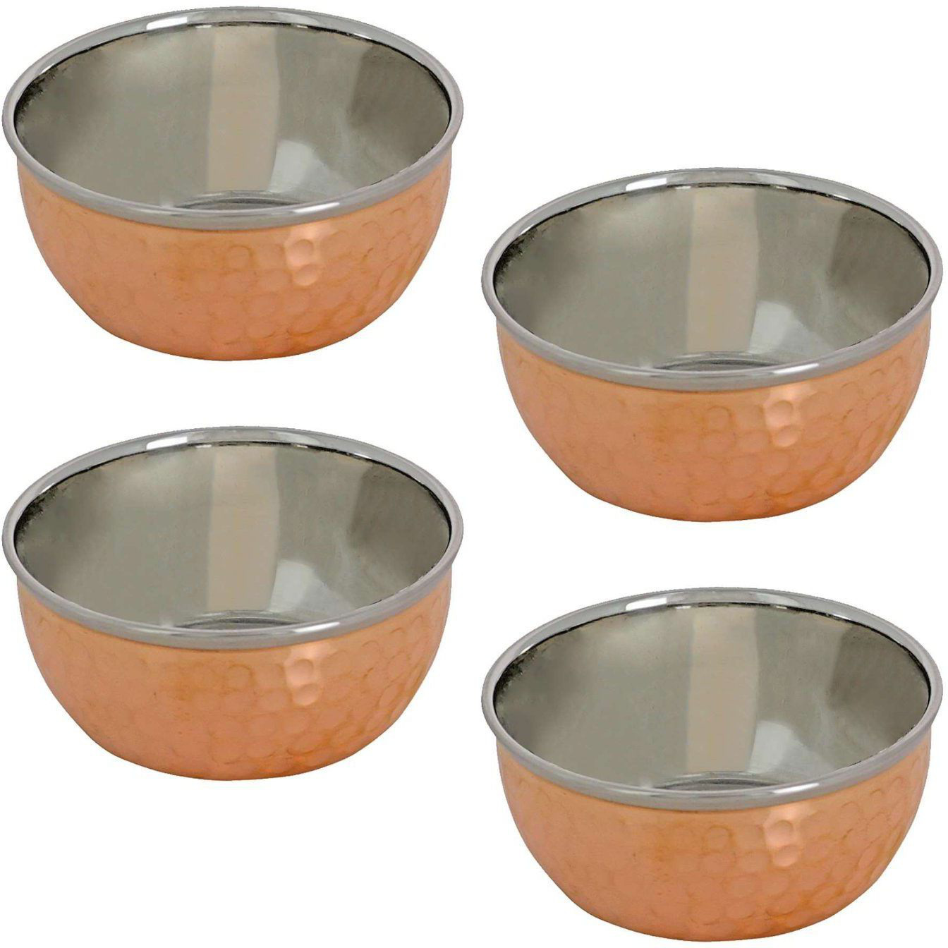 Prisha India Craft B. Set of 3 Dinnerware Traditional Stainless Steel Copper Dinner Set of Thali Plate, Bowls, Glass and Spoons, Dia 13  With 1 Embossed Stainless Steel Copper Pitcher Jug - Christmas Gift