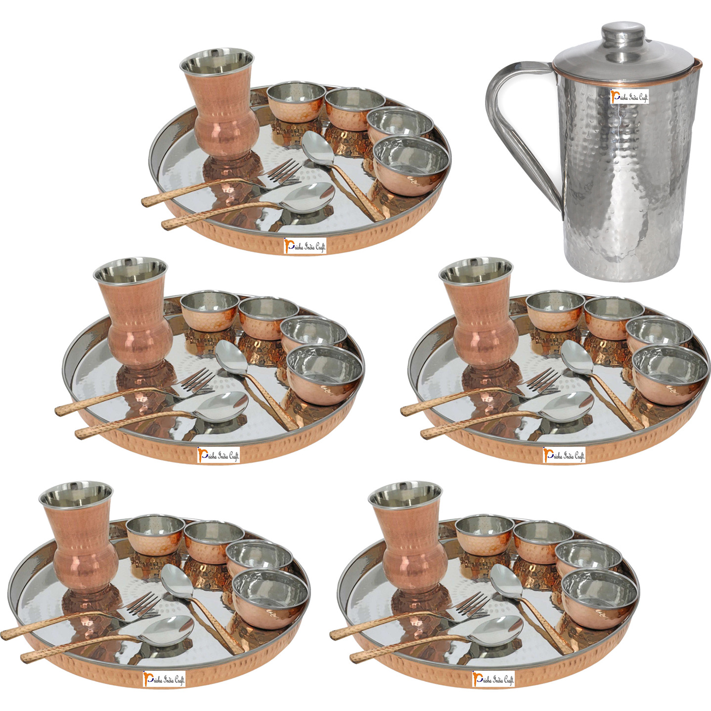 Prisha India Craft B. Set of 5 Dinnerware Traditional Stainless Steel Copper Dinner Set of Thali Plate, Bowls, Glass and Spoons, Dia 13  With 1 Stainless Steel Copper Hammered Pitcher Jug - Christmas Gift
