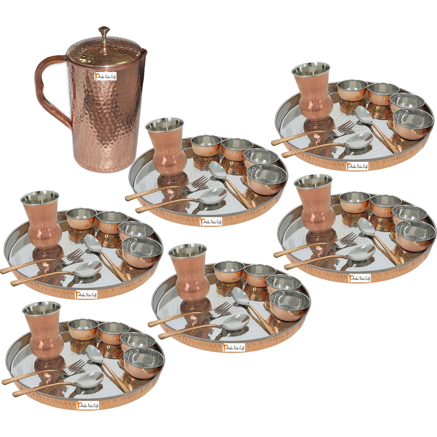 Prisha India Craft B. Set of 6 Dinnerware Traditional Stainless Steel Copper Dinner Set of Thali Plate, Bowls, Glass and Spoons, Dia 13  With 1 Pure Copper Hammered Pitcher Jug - Christmas Gift