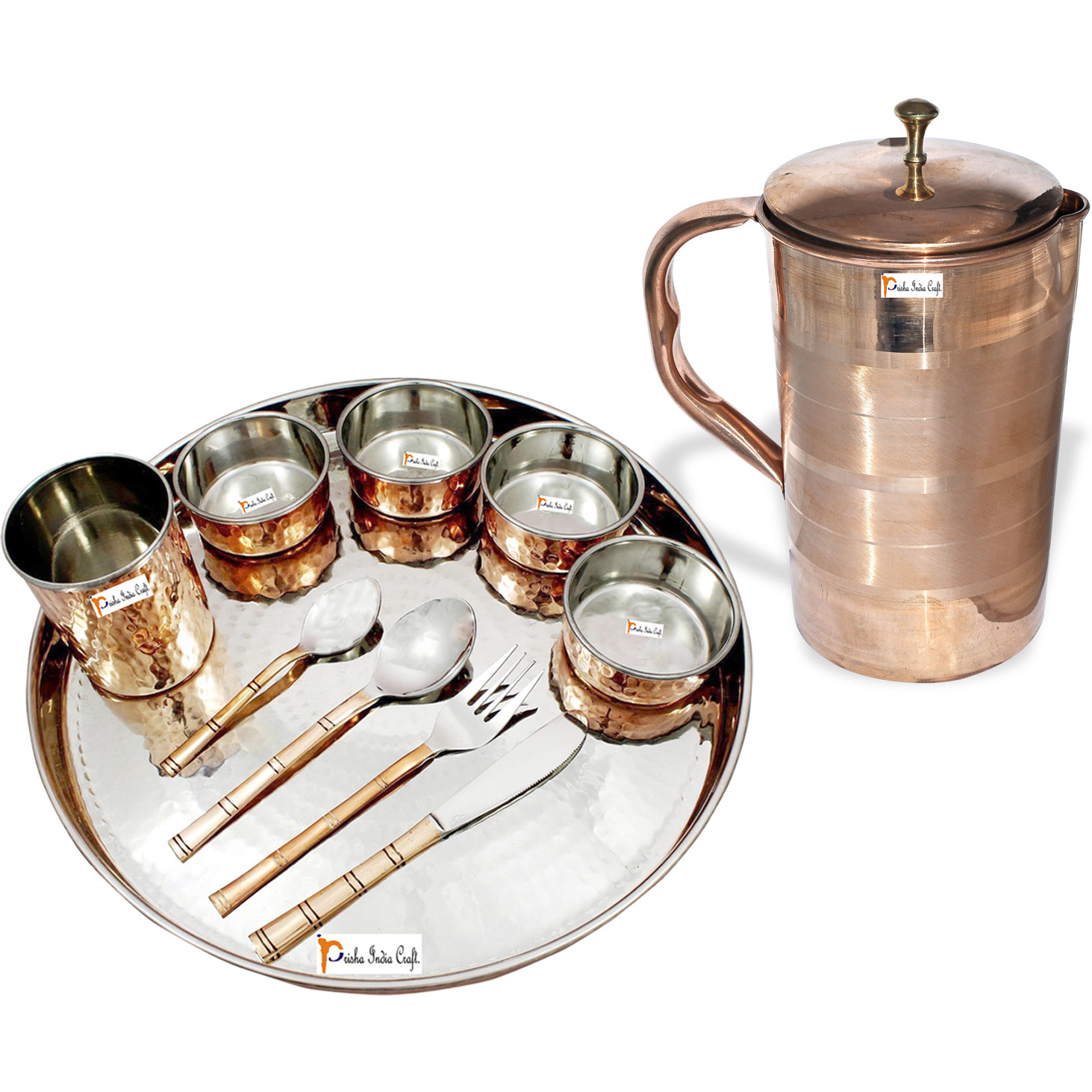 Prisha India Craft B. Dinnerware Traditional Stainless Steel Copper Dinner Set of Thali Plate, Bowls, Glass and Spoons, Dia 13  With 1 Luxury Style Pure Copper Pitcher Jug - Christmas Gift
