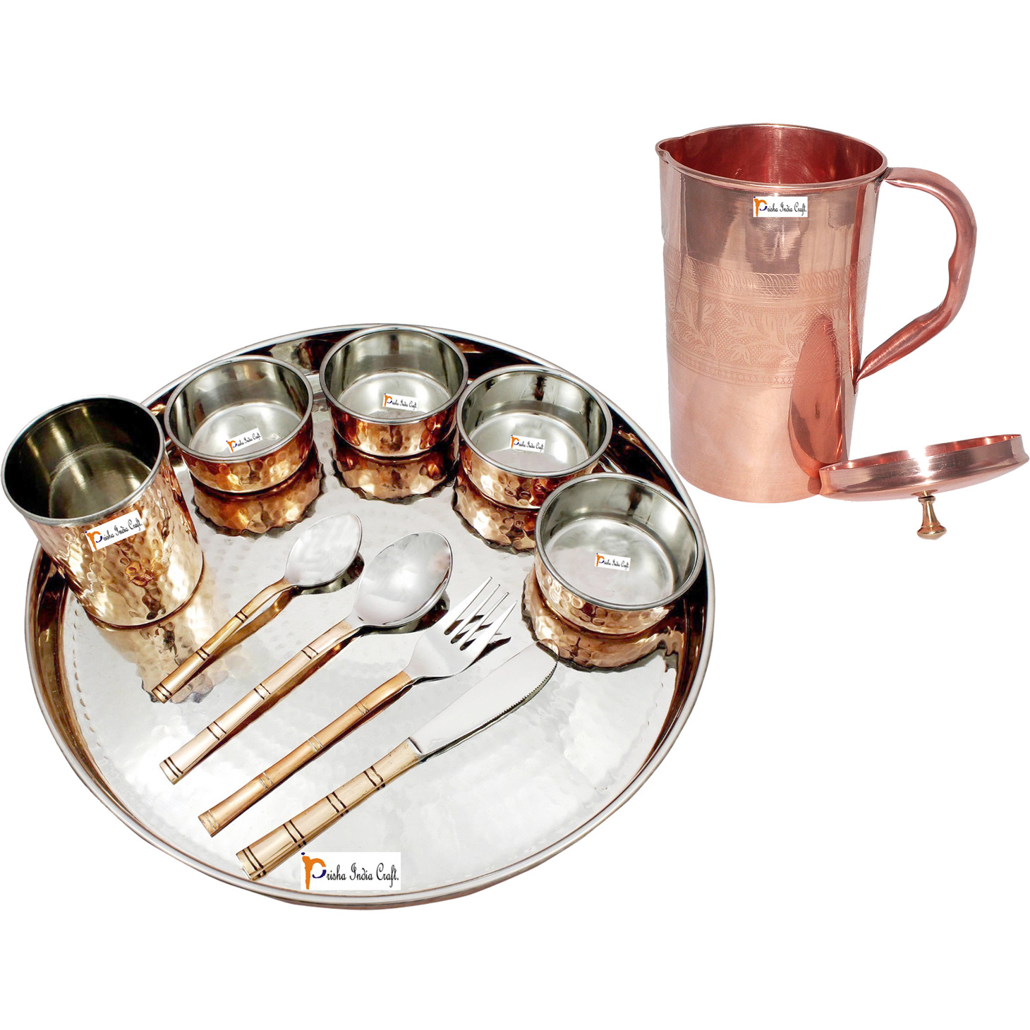 Prisha India Craft B. Dinnerware Traditional Stainless Steel Copper Dinner Set of Thali Plate, Bowls, Glass and Spoons, Dia 13  With 1 Pure Copper Embossed Pitcher Jug - Christmas Gift