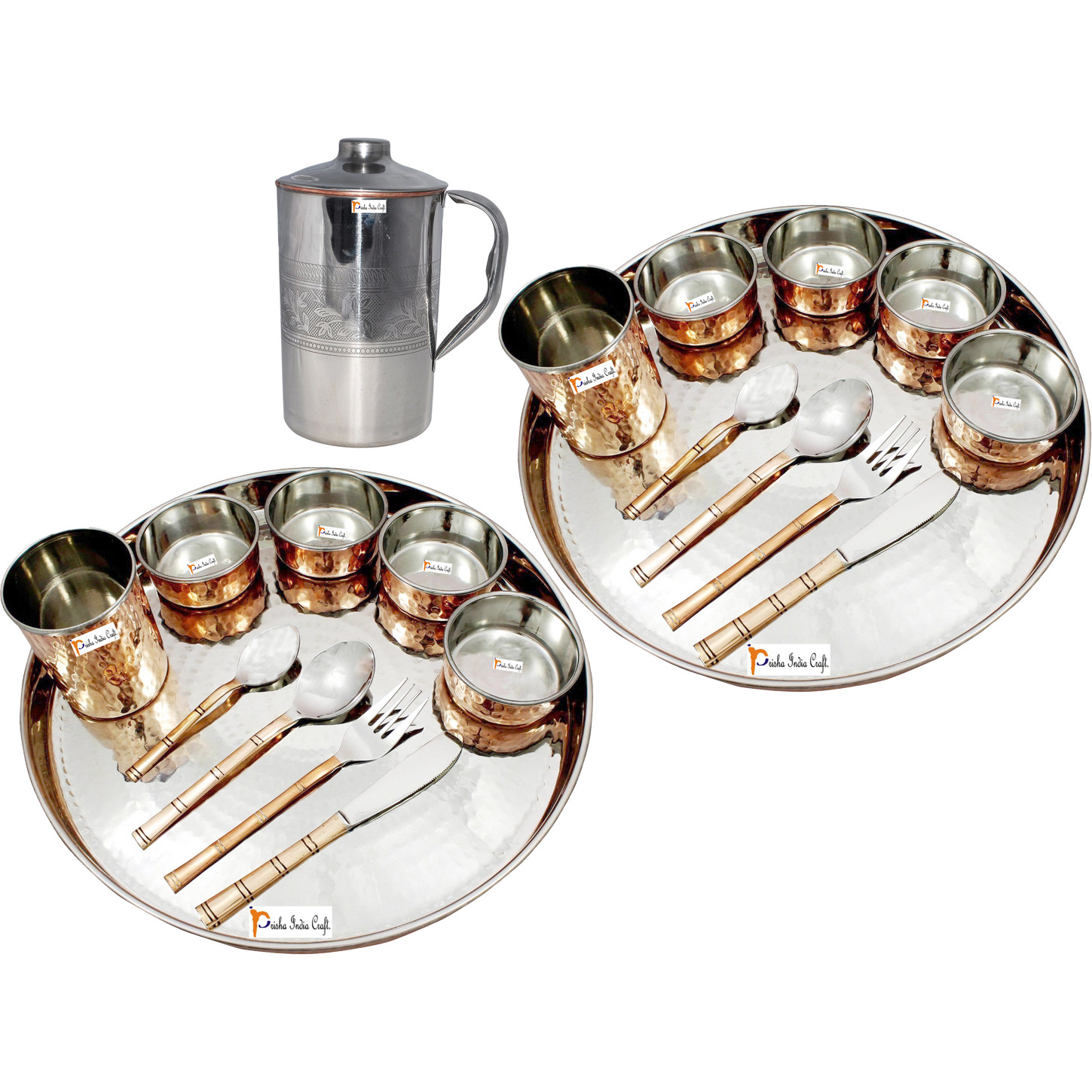 Prisha India Craft B. Set of 2 Dinnerware Traditional Stainless Steel Copper Dinner Set of Thali Plate, Bowls, Glass and Spoons, Dia 13  With 1 Embossed Stainless Steel Copper Pitcher Jug - Christmas Gift