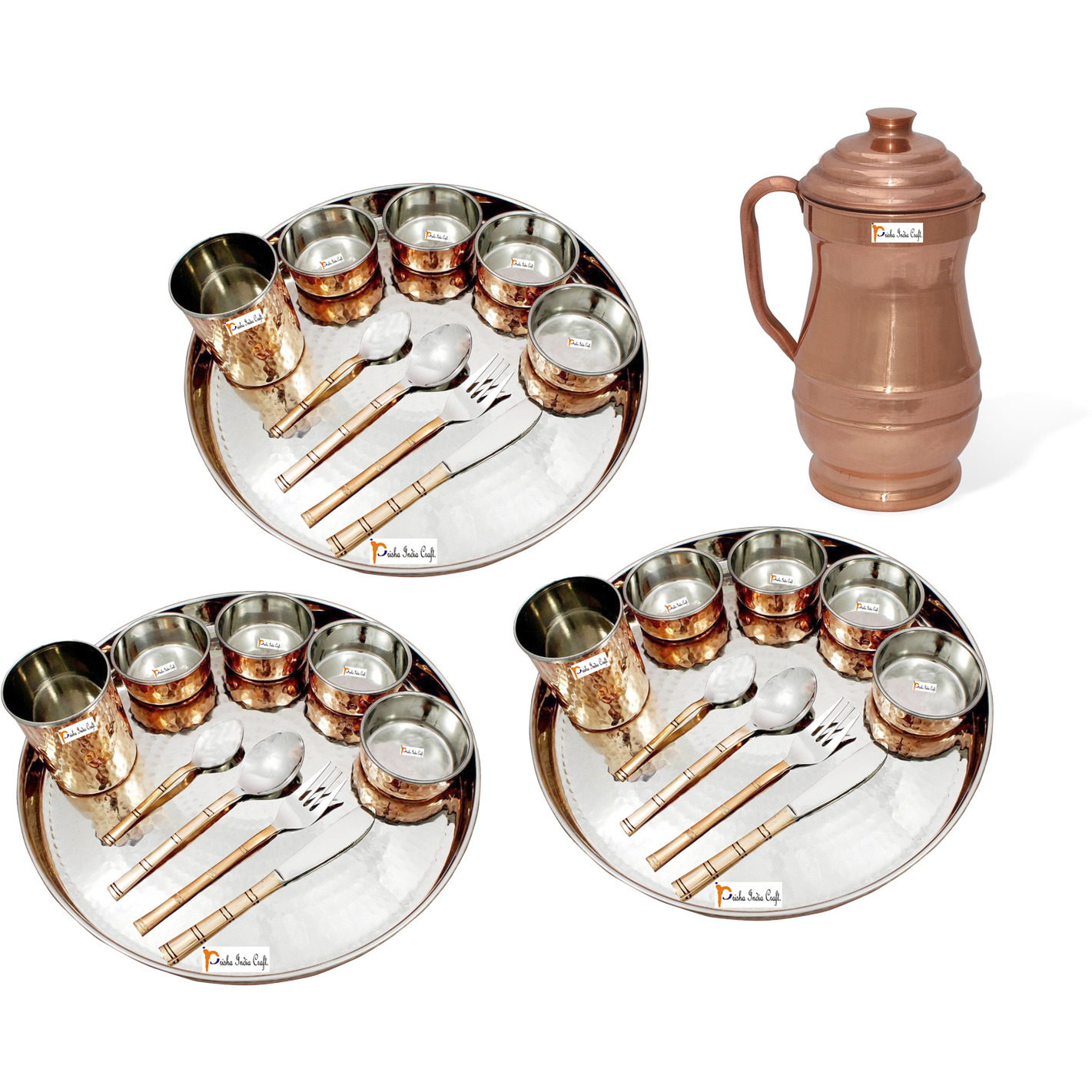 Prisha India Craft B. Set of 3 Dinnerware Traditional Stainless Steel Copper Dinner Set of Thali Plate, Bowls, Glass and Spoons, Dia 13  With 1 Pure Copper Maharaja Pitcher Jug - Christmas Gift