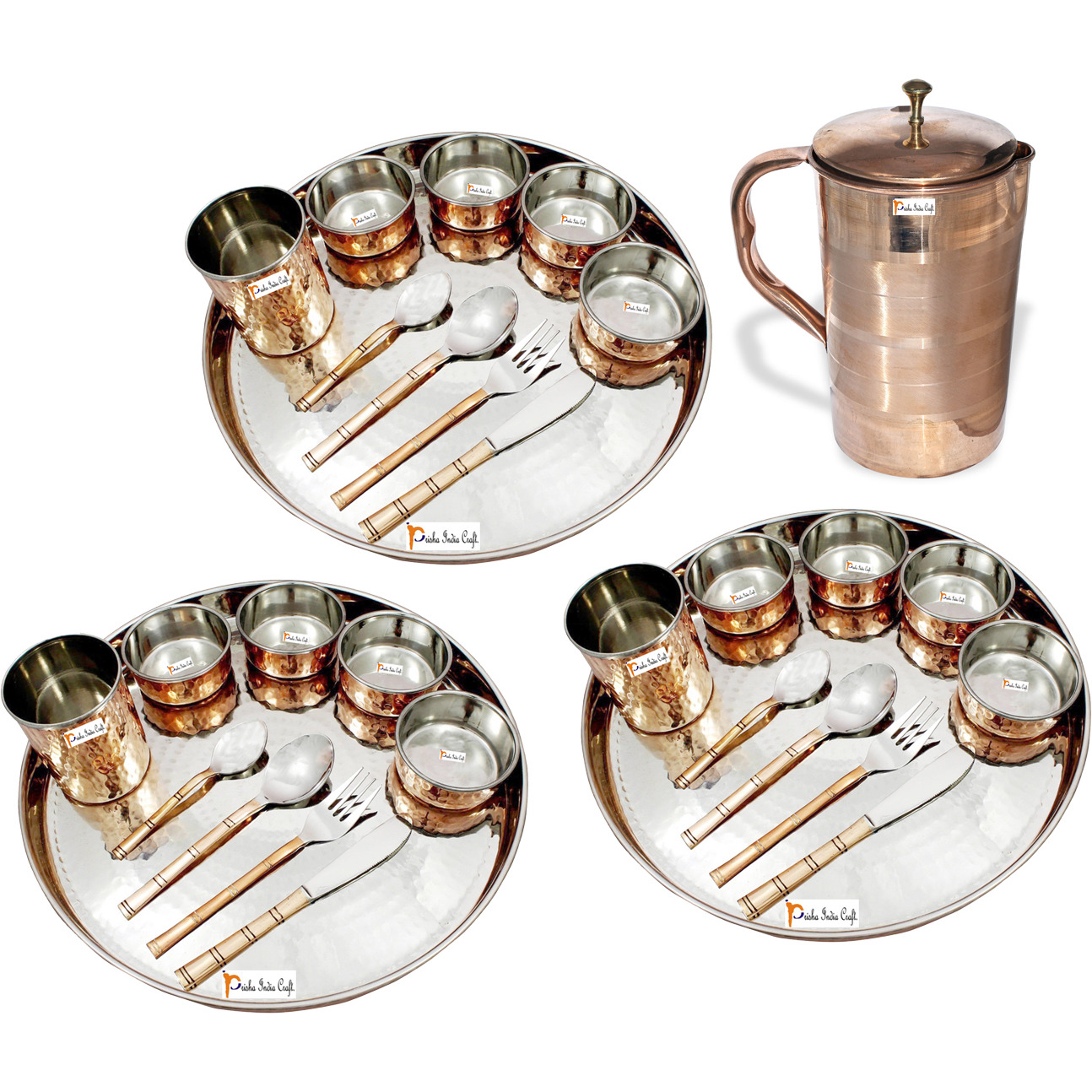 Prisha India Craft B. Set of 3 Dinnerware Traditional Stainless Steel Copper Dinner Set of Thali Plate, Bowls, Glass and Spoons, Dia 13  With 1 Luxury Style Pure Copper Pitcher Jug - Christmas Gift