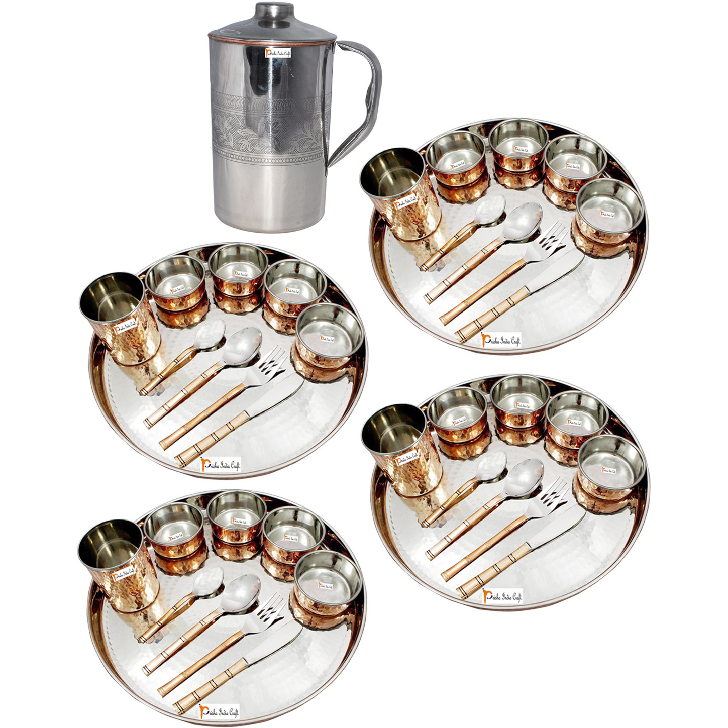 Prisha India Craft B. Set of 4 Dinnerware Traditional Stainless Steel Copper Dinner Set of Thali Plate, Bowls, Glass and Spoons, Dia 13  With 1 Embossed Stainless Steel Copper Pitcher Jug - Christmas Gift