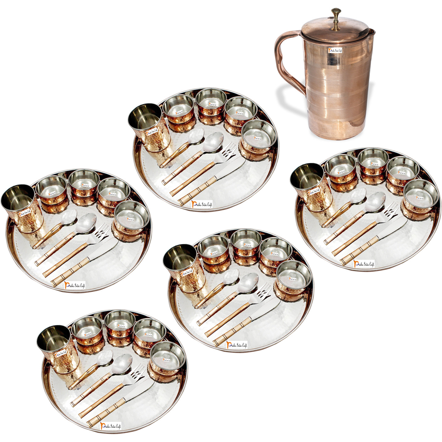 Prisha India Craft B. Set of 5 Dinnerware Traditional Stainless Steel Copper Dinner Set of Thali Plate, Bowls, Glass and Spoons, Dia 13  With 1 Luxury Style Pure Copper Pitcher Jug - Christmas Gift