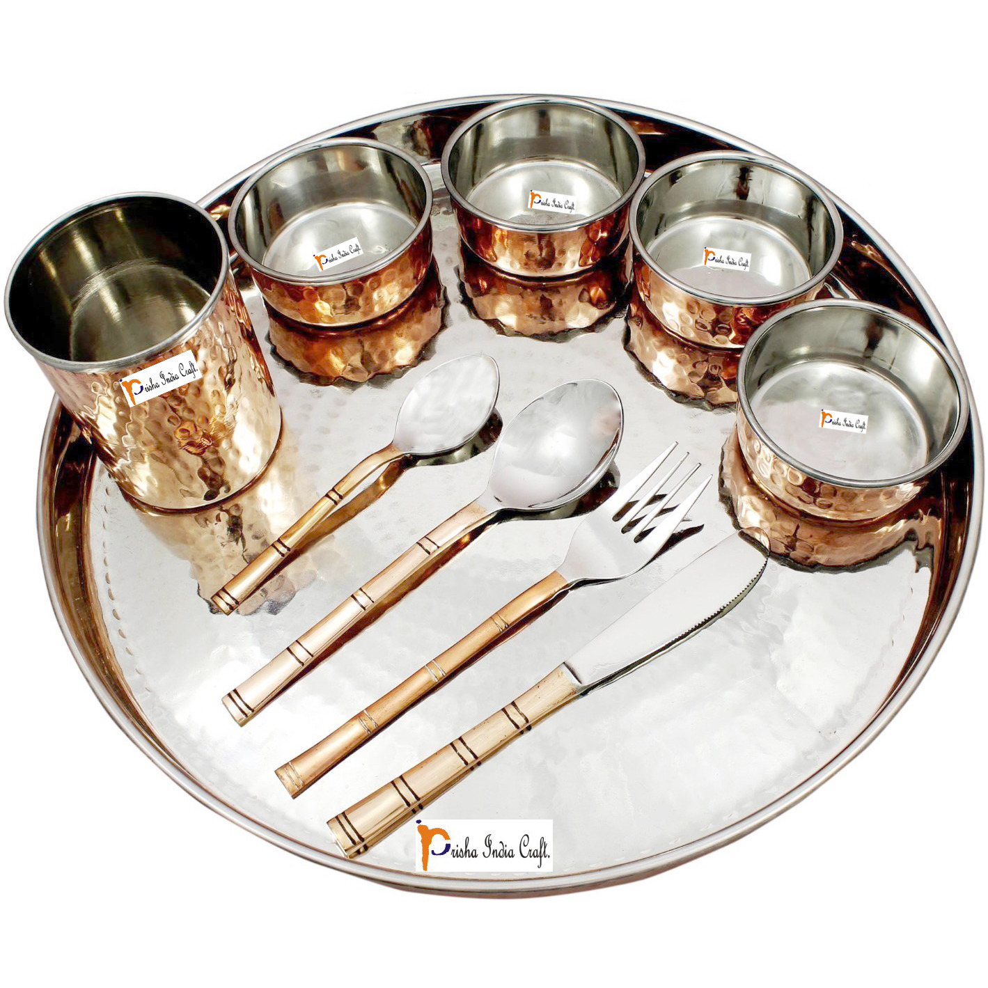 Prisha India Craft B. Set of 5 Dinnerware Traditional Stainless Steel Copper Dinner Set of Thali Plate, Bowls, Glass and Spoons, Dia 13  With 1 Pure Copper Hammered Pitcher Jug - Christmas Gift