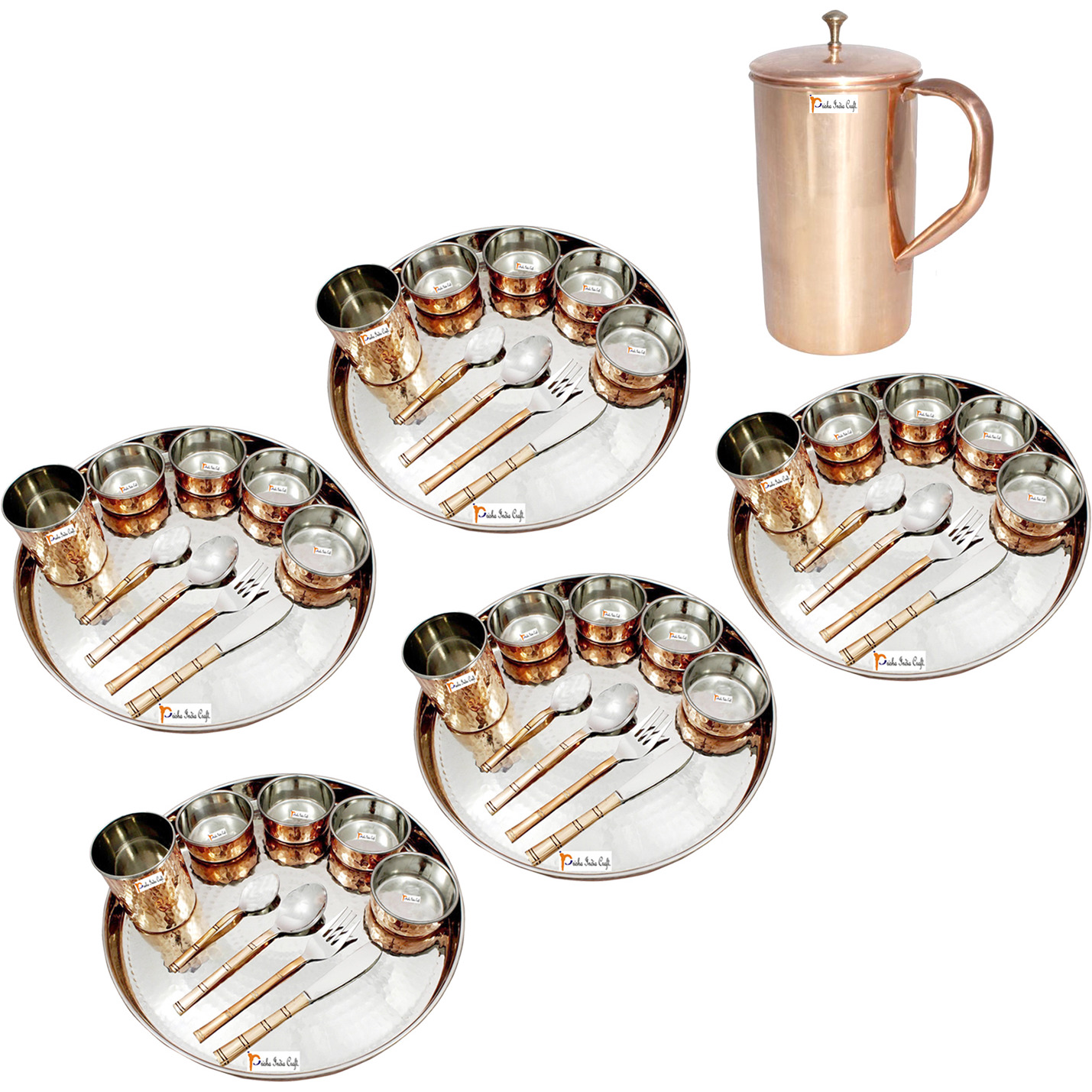 Prisha India Craft B. Set of 5 Dinnerware Traditional Stainless Steel Copper Dinner Set of Thali Plate, Bowls, Glass and Spoons, Dia 13  With 1 Pure Copper Classic Pitcher Jug - Christmas Gift