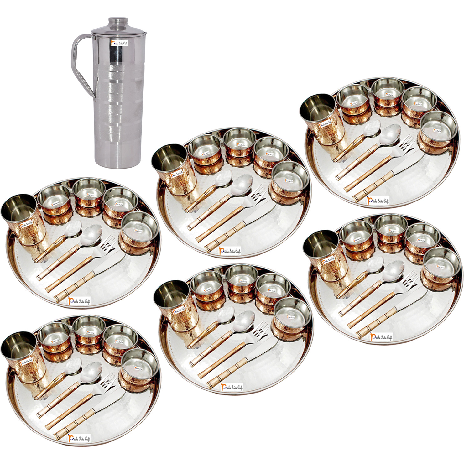 Prisha India Craft B. Set of 6 Dinnerware Traditional Stainless Steel Copper Dinner Set of Thali Plate, Bowls, Glass and Spoons, Dia 13  With 1 Luxury Style Stainless Steel Copper Pitcher Jug - Christmas Gift
