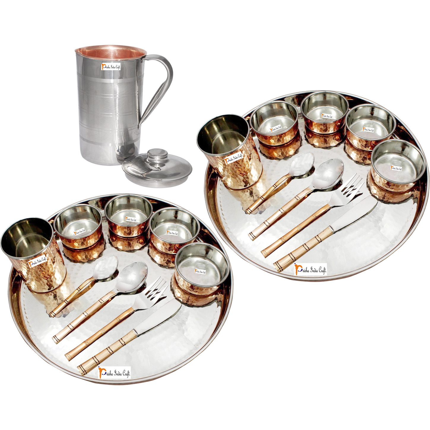 Prisha India Craft B. Set of 2 Dinnerware Traditional Stainless Steel Copper Dinner Set of Thali Plate, Bowls, Glass and Spoons, Dia 13  With 1 Luxury Style Pitcher Jug - Christmas Gift