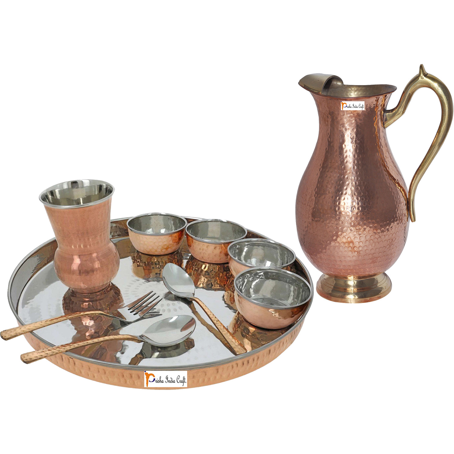 Prisha India Craft B. Dinnerware Traditional Stainless Steel Copper Dinner Set of Thali Plate, Bowls, Glass and Spoons, Dia 13  With 1 Pure Copper Mughal Pitcher Jug - Christmas Gift