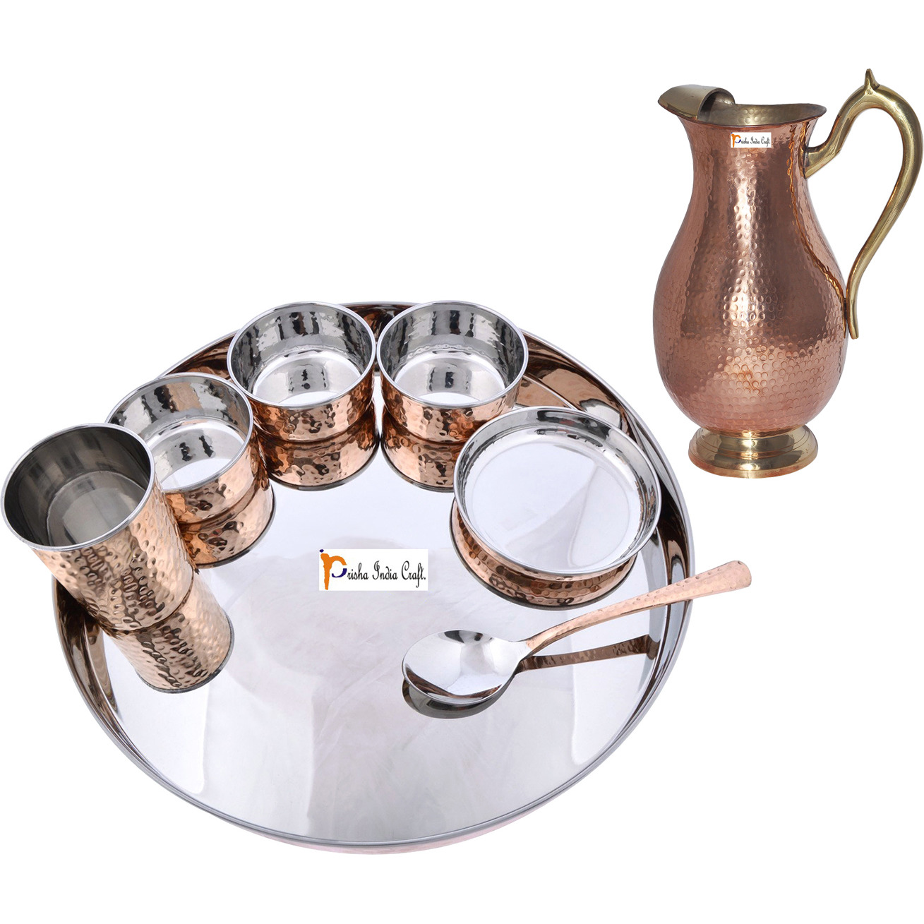Prisha India Craft B. Dinnerware Traditional Stainless Steel Copper Dinner Set of Thali Plate, Bowls, Glass and Spoon, Dia 13  With 1 Pure Copper Mughal Pitcher Jug - Christmas Gift