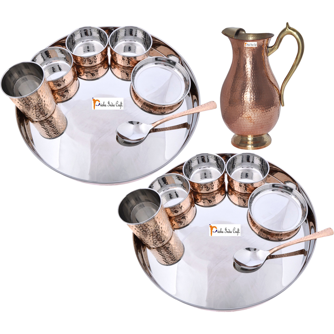 Prisha India Craft B. Set of 2 Dinnerware Traditional Stainless Steel Copper Dinner Set of Thali Plate, Bowls, Glass and Spoon, Dia 13  With 1 Pure Copper Mughal Pitcher Jug - Christmas Gift