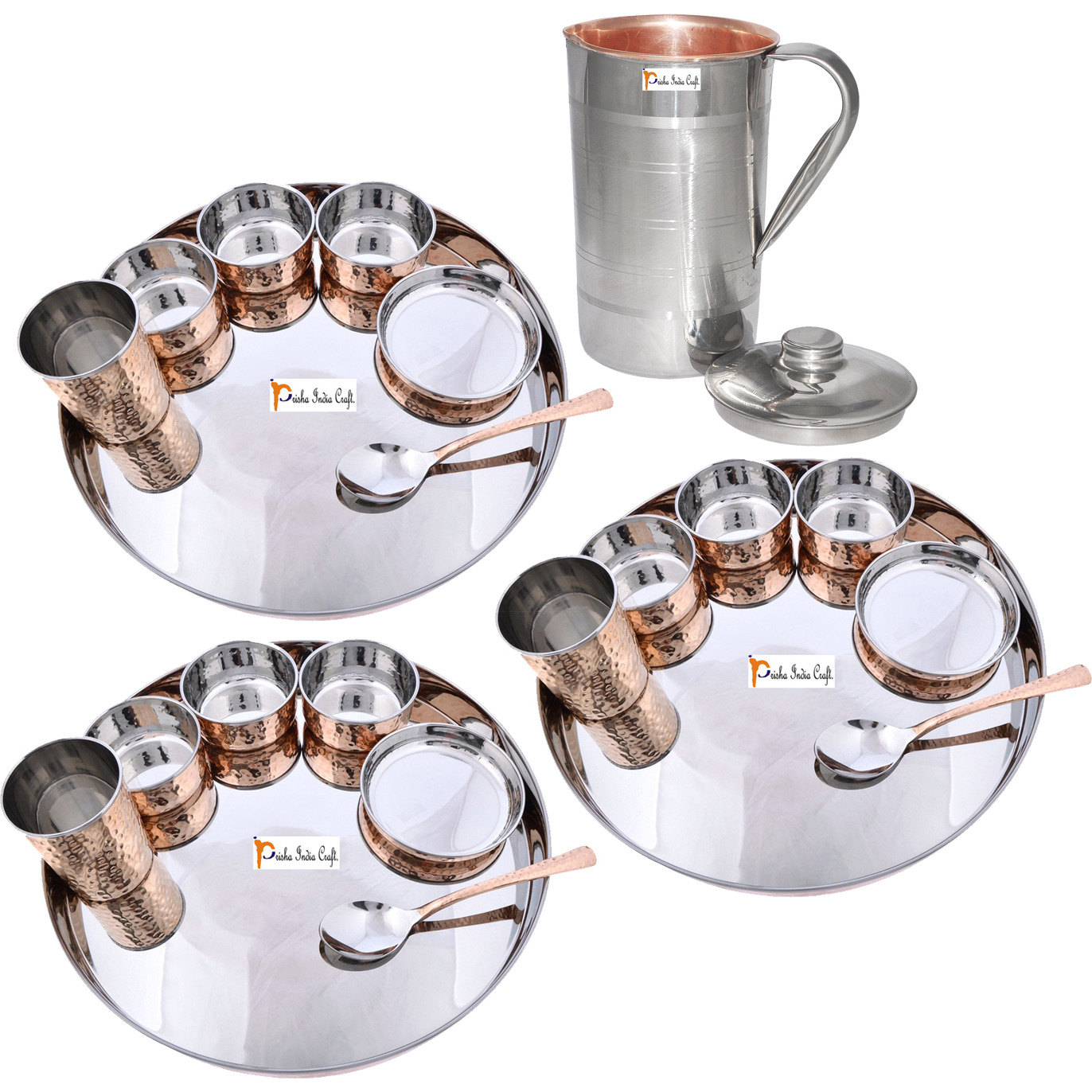 Prisha India Craft B. Set of 3 Dinnerware Traditional Stainless Steel Copper Dinner Set of Thali Plate, Bowls, Glass and Spoon, Dia 13  With 1 Luxury Style Pitcher Jug - Christmas Gift