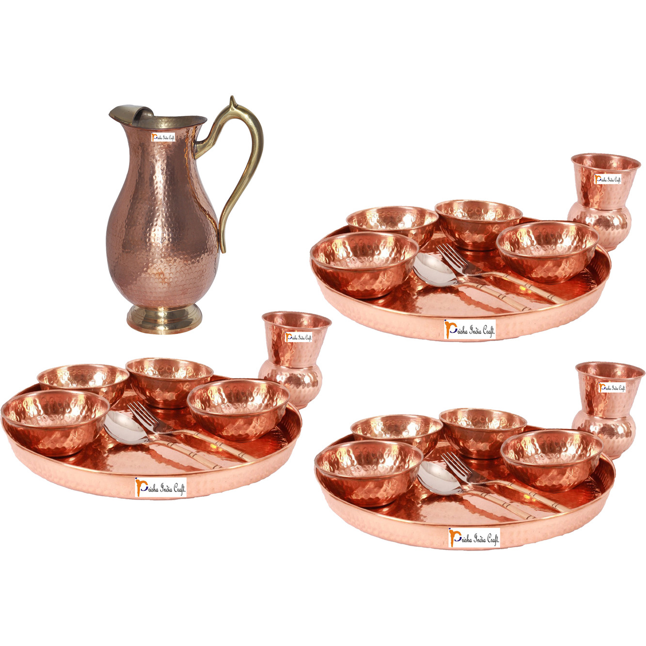 Prisha India Craft B. Set of 3 Dinnerware Traditional 100% Pure Copper Dinner Set of Thali Plate, Bowls, Glass and Spoon, Dia 12  With 1 Pure Copper Mughal Pitcher Jug - Christmas Gift